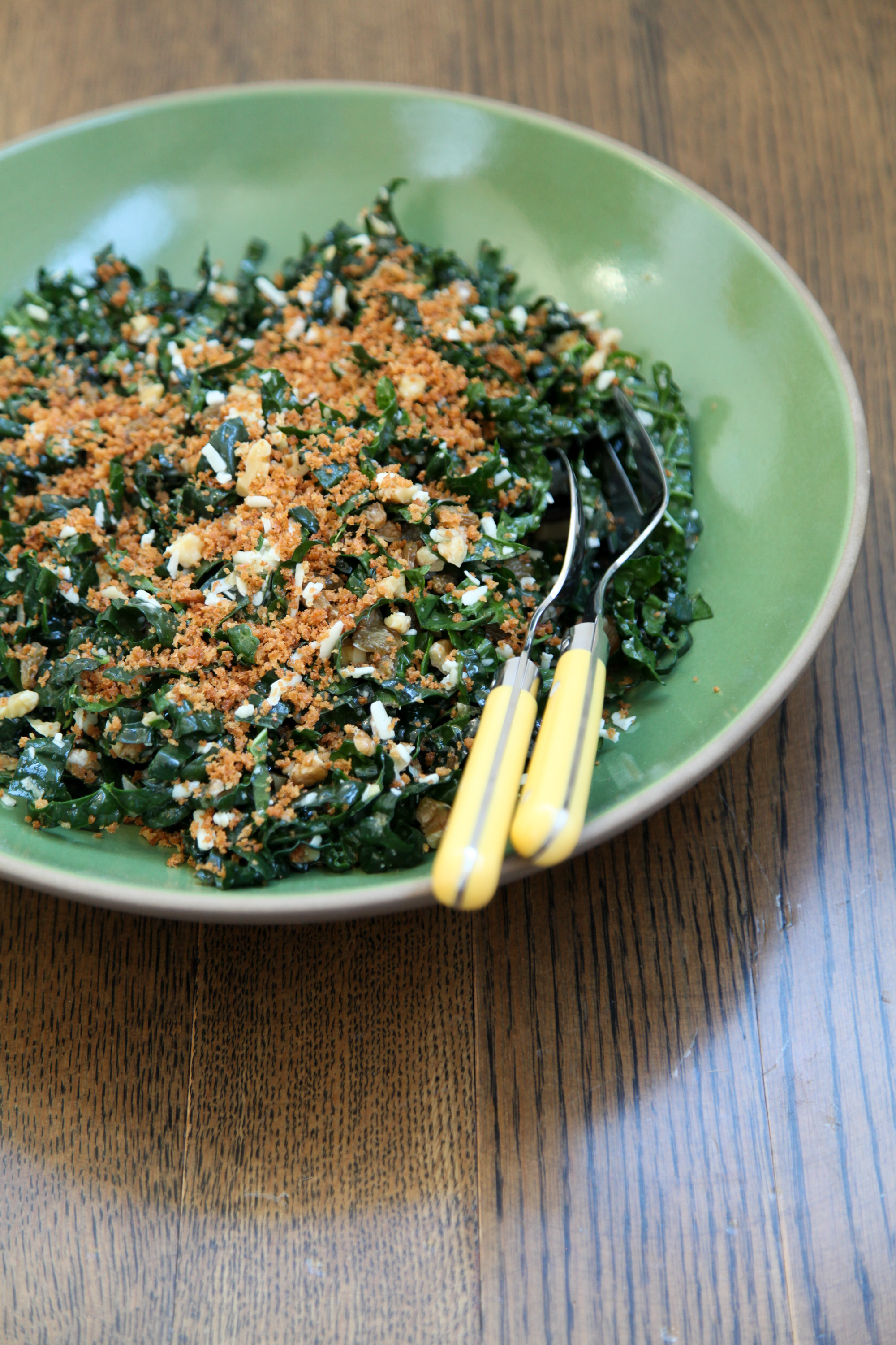 Kale Salad With Walnuts, Golden Raisins, and Toasted Breadcrumbs | amodestfeast.com | A Modest Feast