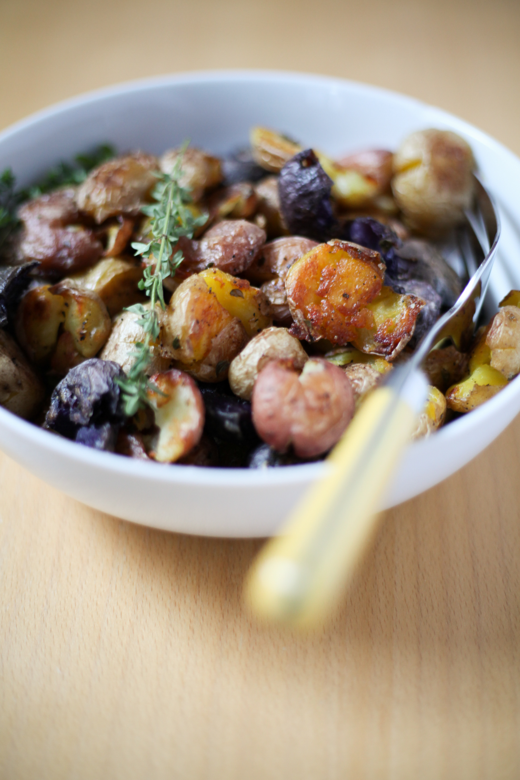 Duck Fat Smashed Potatoes | amodestfeast.com | A Modest Feast