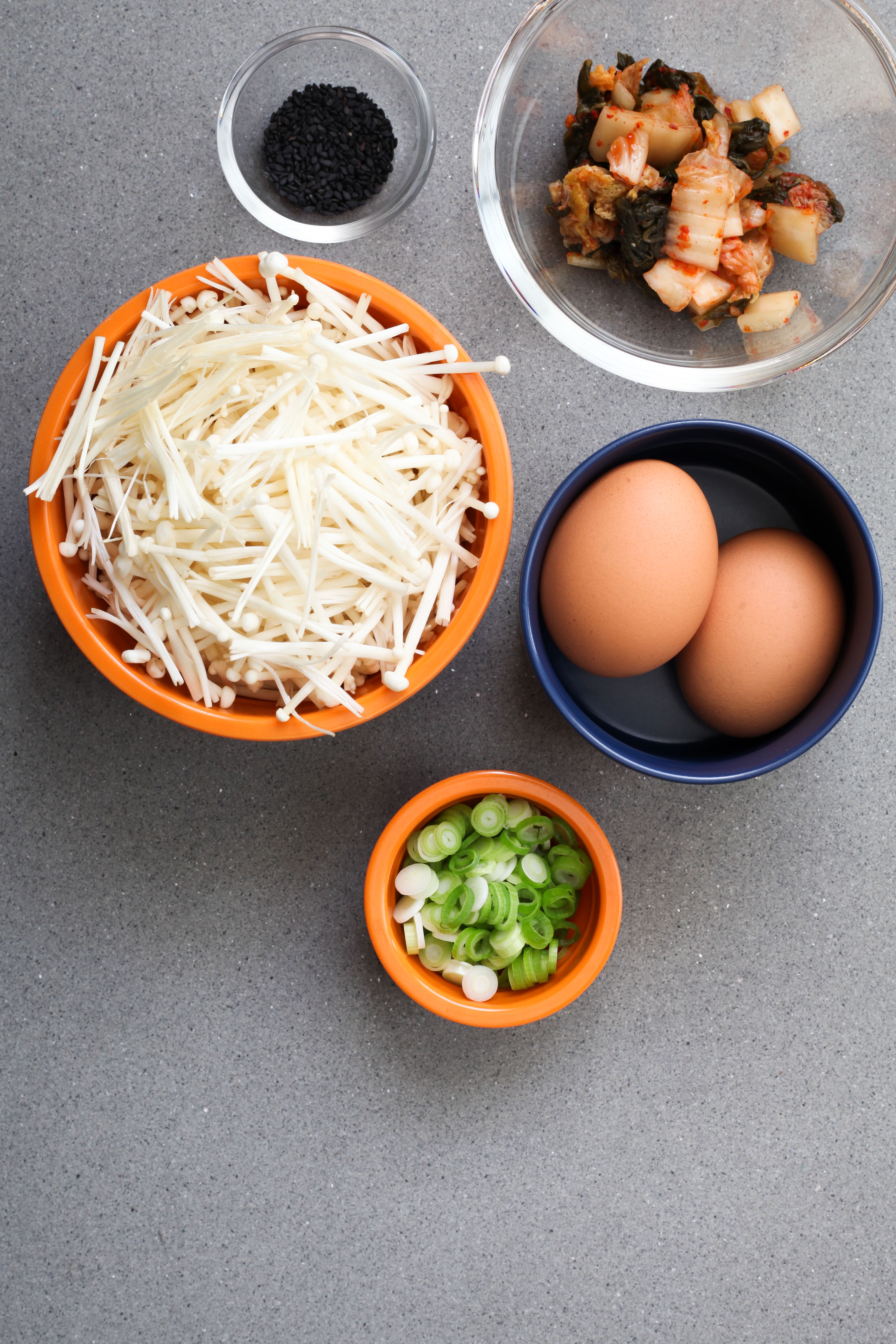 Enoki Mushrooms and Kimchi Bowl Ingredients