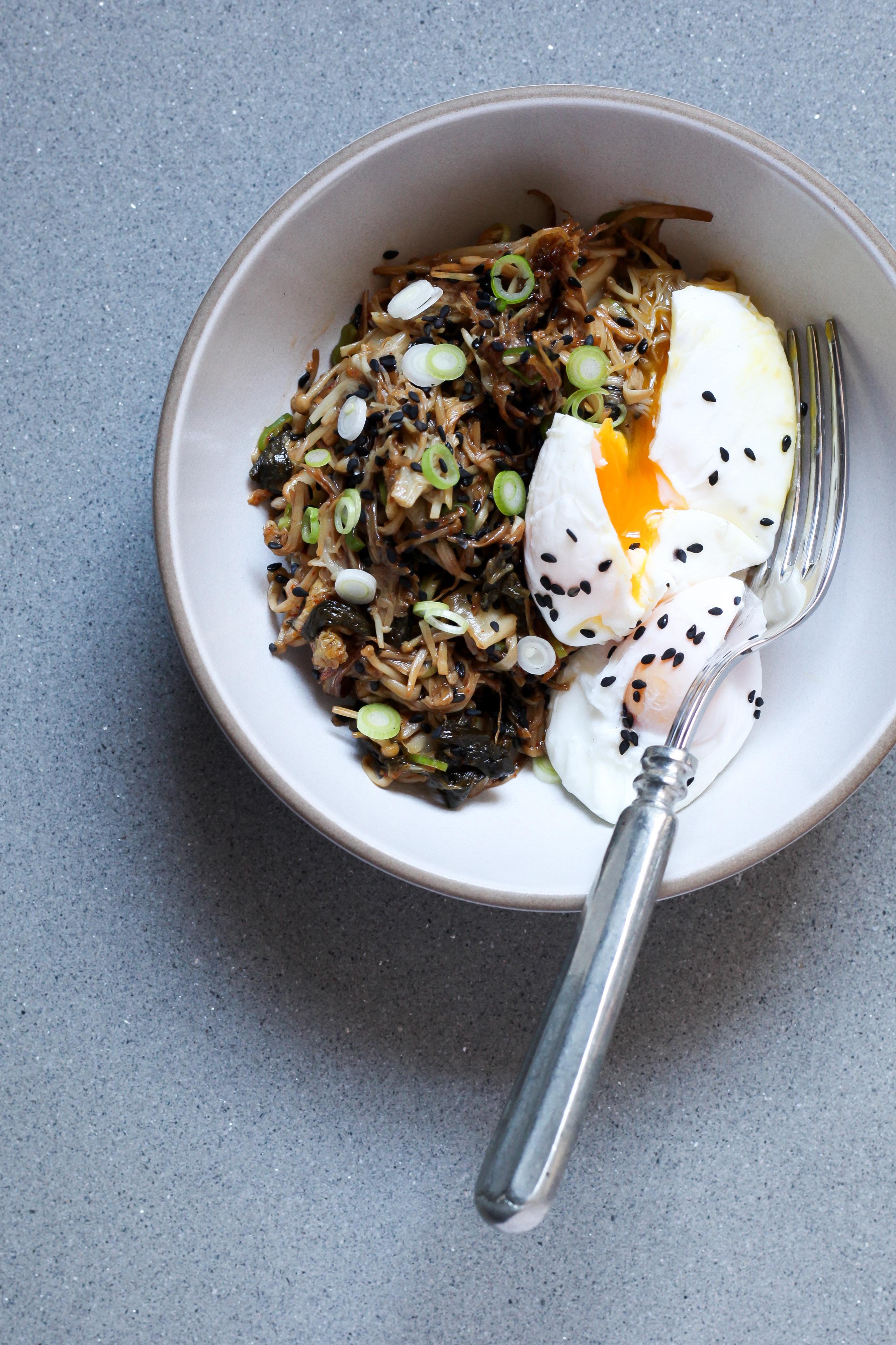 Enoki Mushroom and Kimchi Bowl With Poached Eggs | amodestfeast.com | @amodestfeast