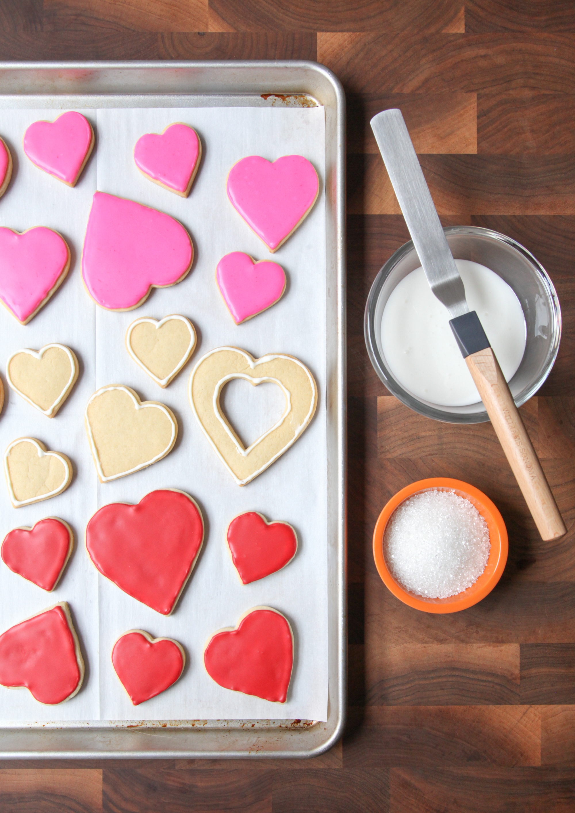 Decorating Valentine's Day sugar cookies
