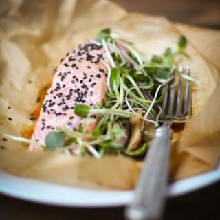 One-Pan Sesame Salmon With Shiitake Mushrooms | amodestfeast.com | A Modest Feast