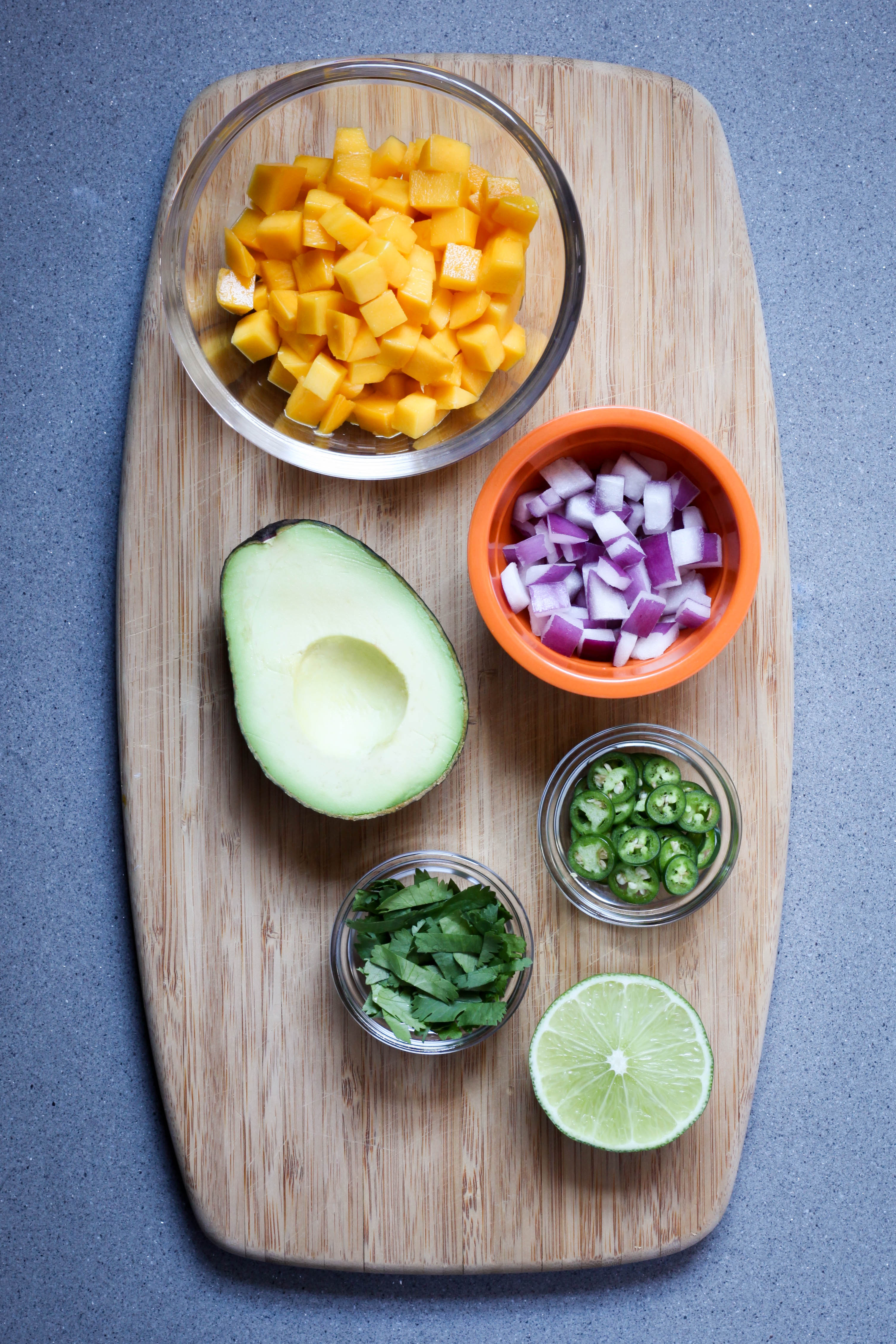Ingredients for mango-avocado salsa