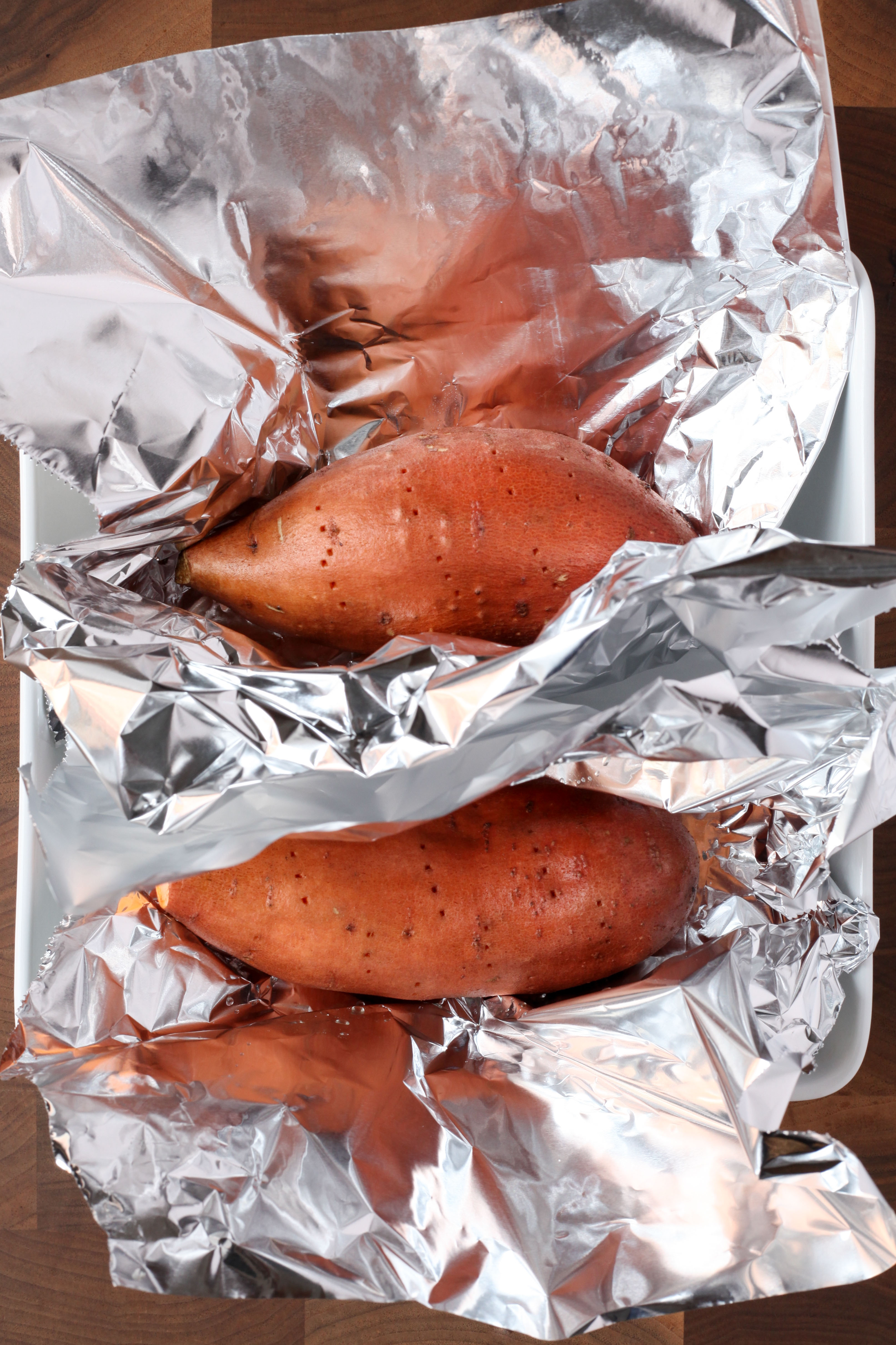 Pricked Sweet Potatoes