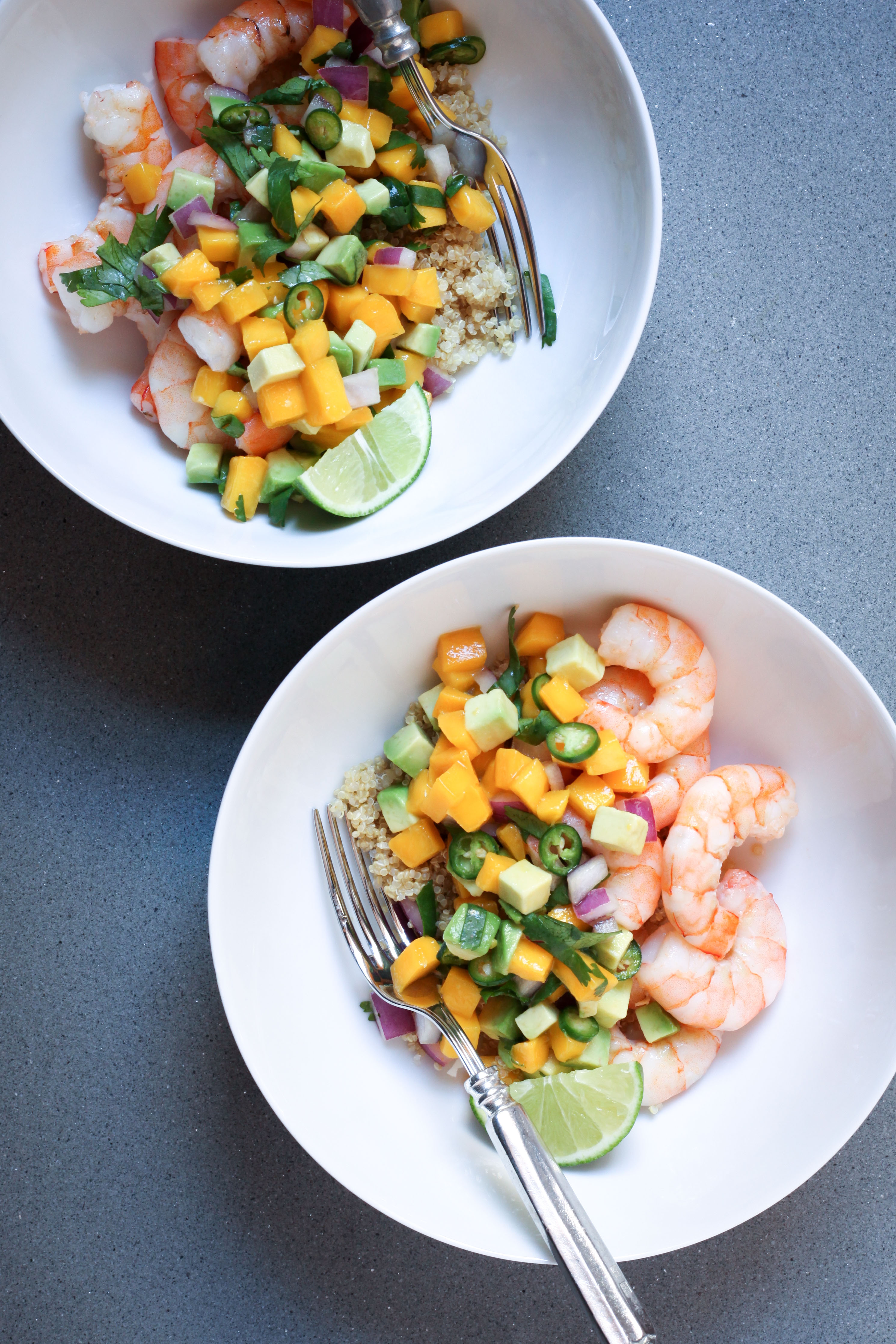 Shrimp and Quinoa With Mango-Avocado Salsa | amodestfeast.com | @amodestfeast