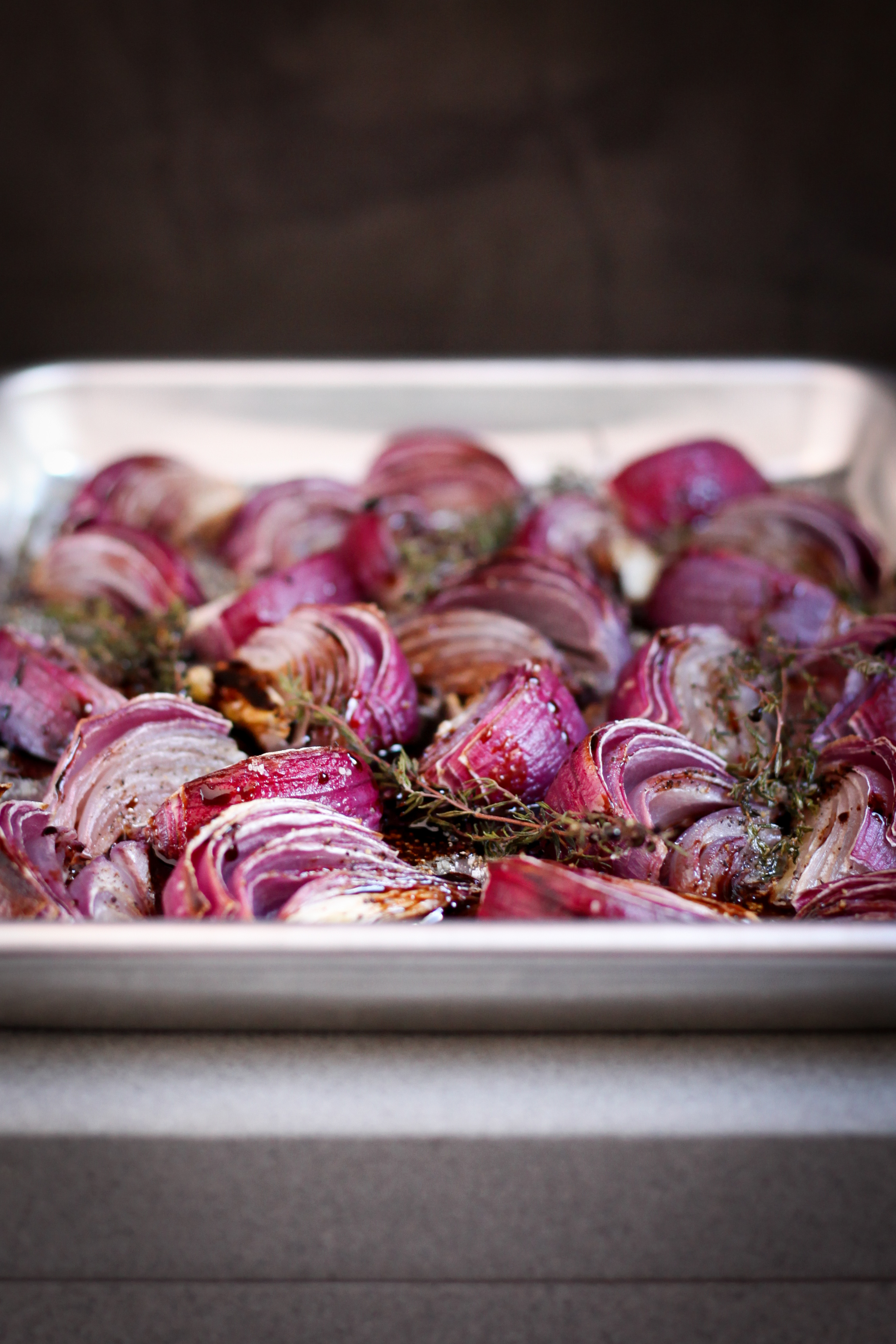 Roasted Red Onions With Thyme and Balsamic | amodestfeast.com | @amodestfeast