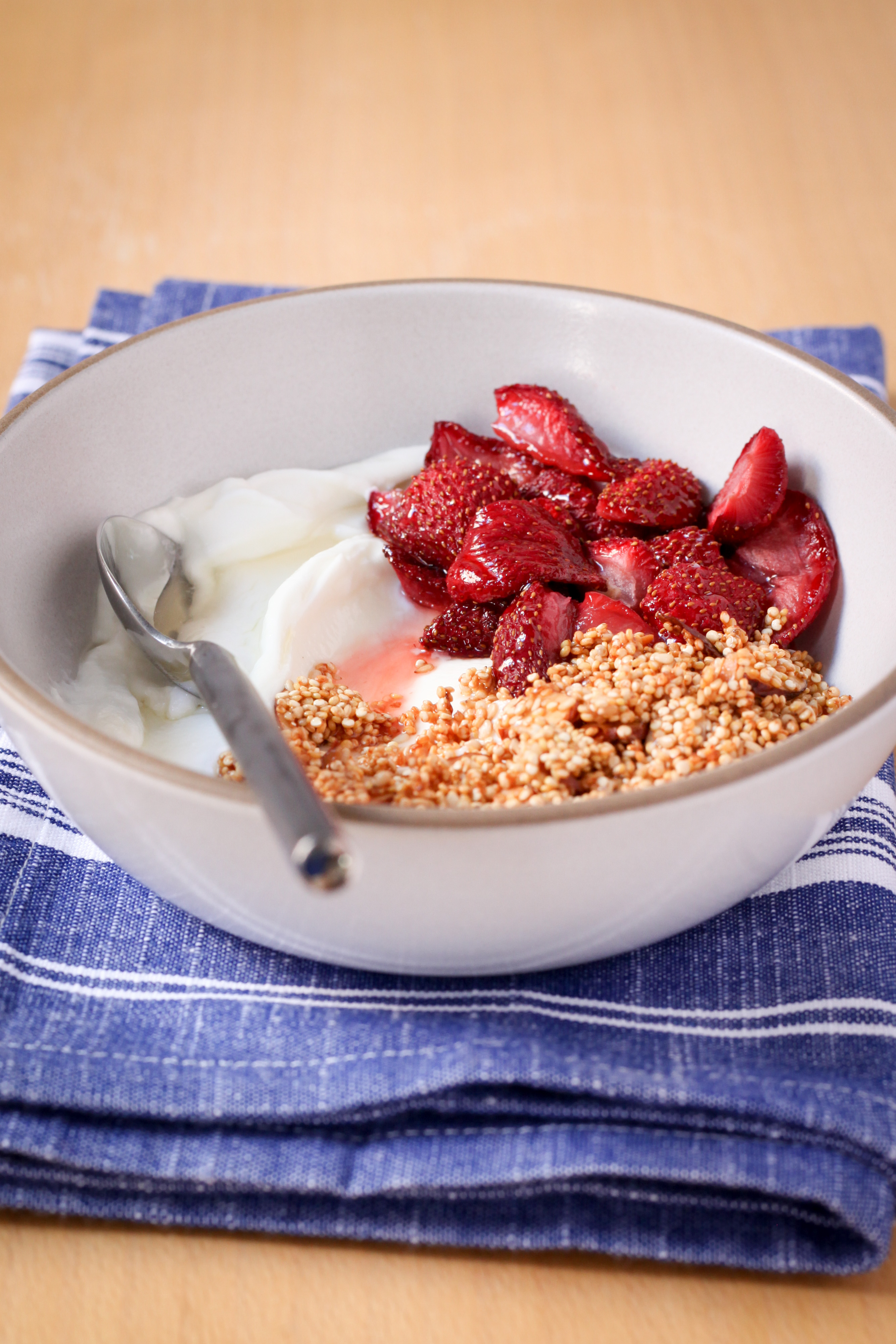 Greek Yogurt With Quinoa Crunch and Roasted Strawberries | amodesfeast.com | @amodestfeast