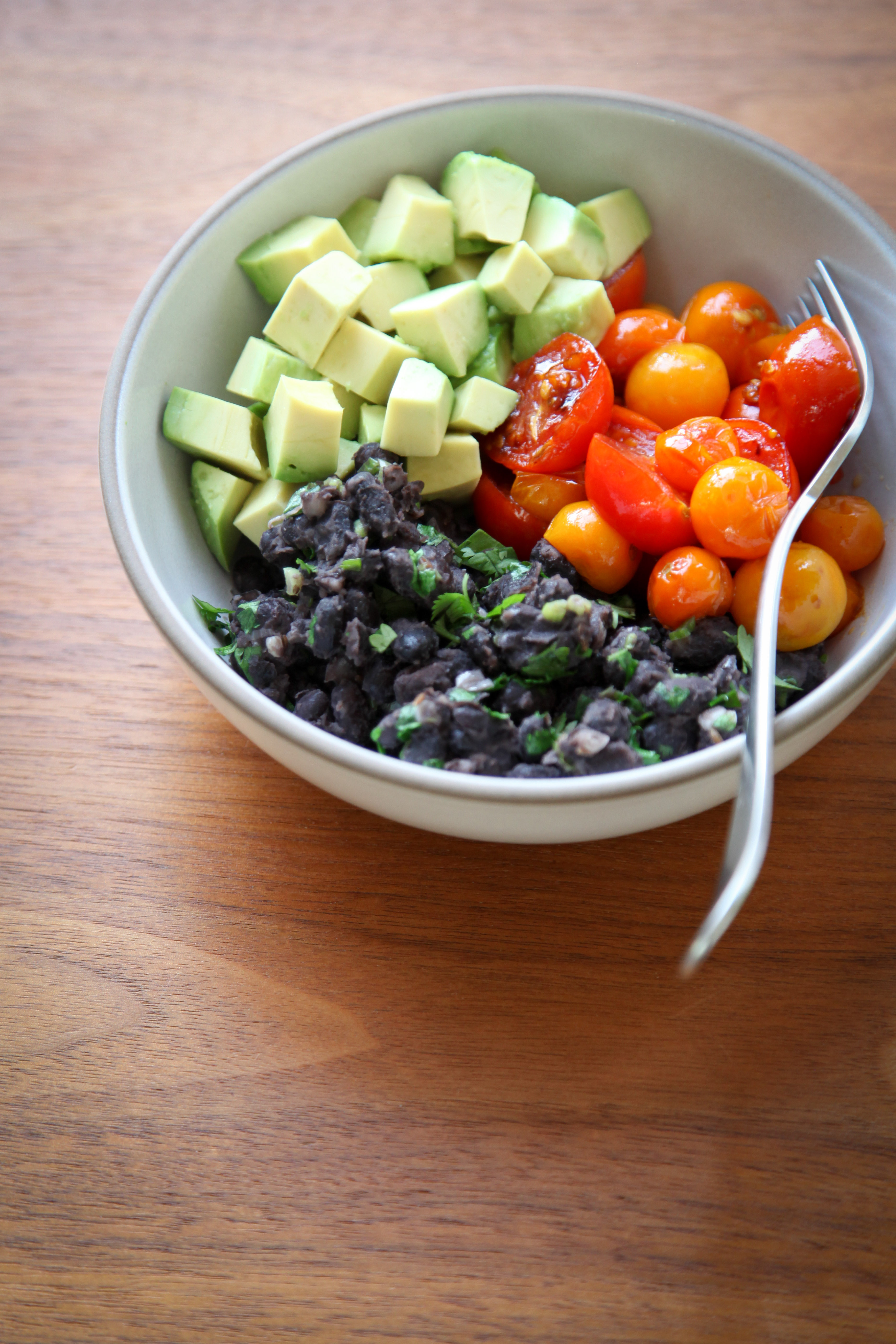 Black Bean, Cherry Tomato, and Avocado Bowl | amodestfeast.com | @amodestfeast