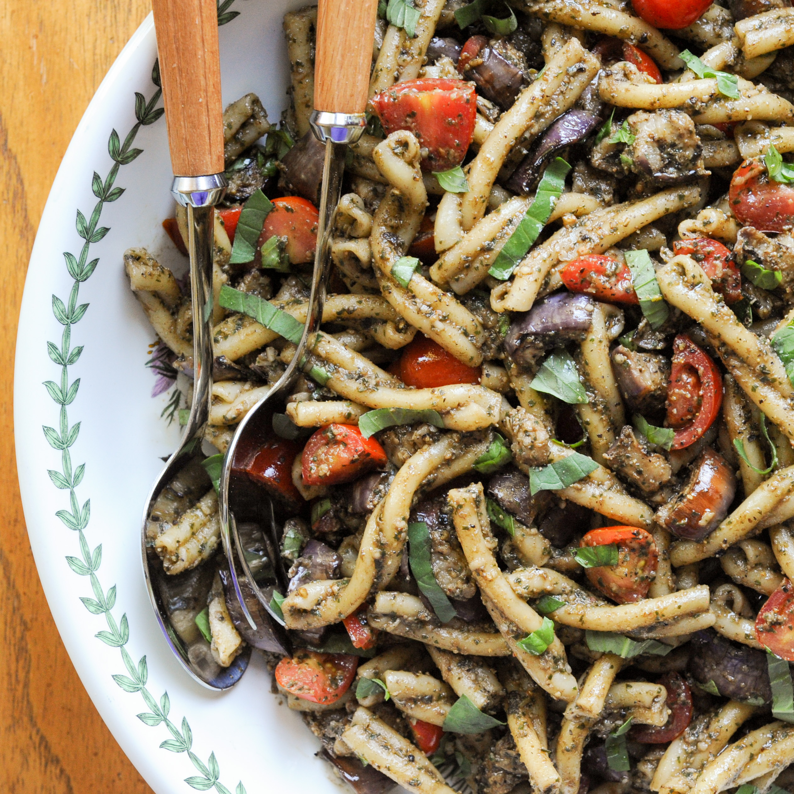 Pesto Pasta With Grilled Eggplant and Cherry Tomatoes | amodestfeast.com | @amodestfeast