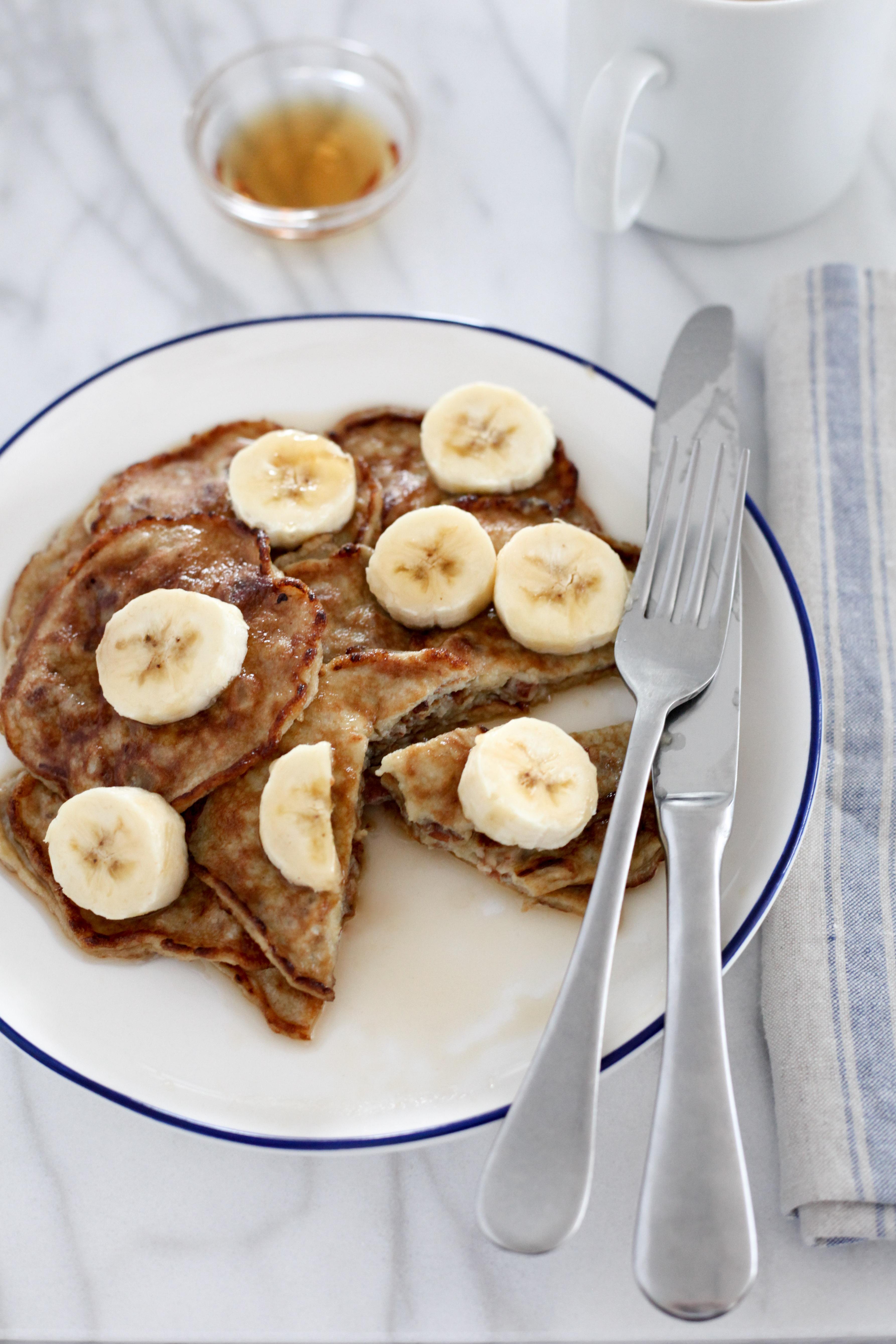 Grain-Free Banana-Pecan Paleo Pancakes | amodestfeast.com | @amodestfeast