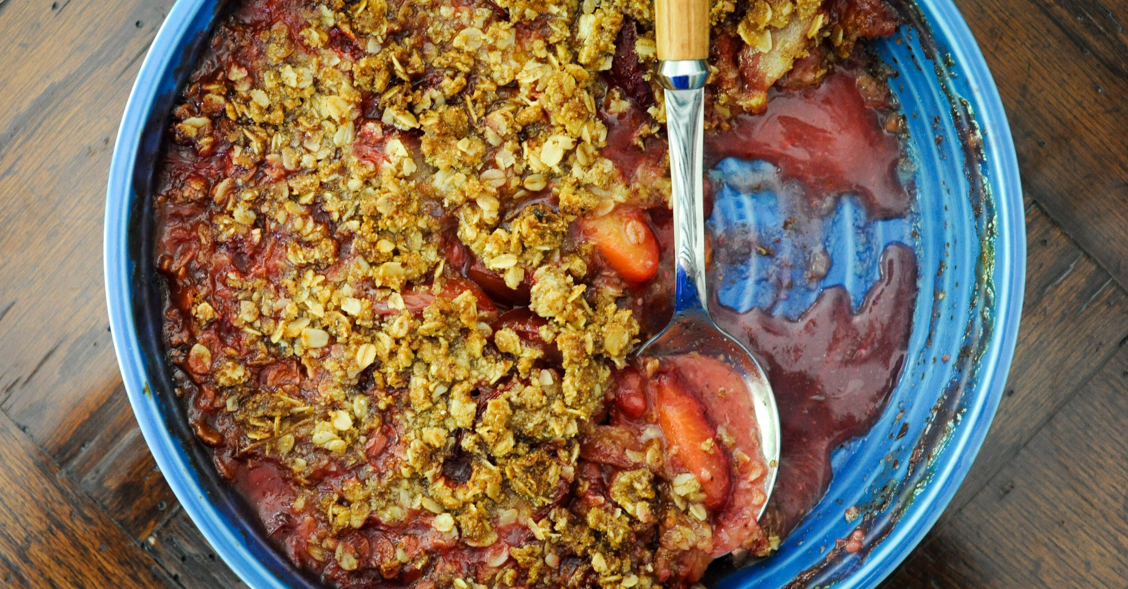 Gluten-Free Plum-Ginger Crisp | amodestfeast.com | @amodestfeast
