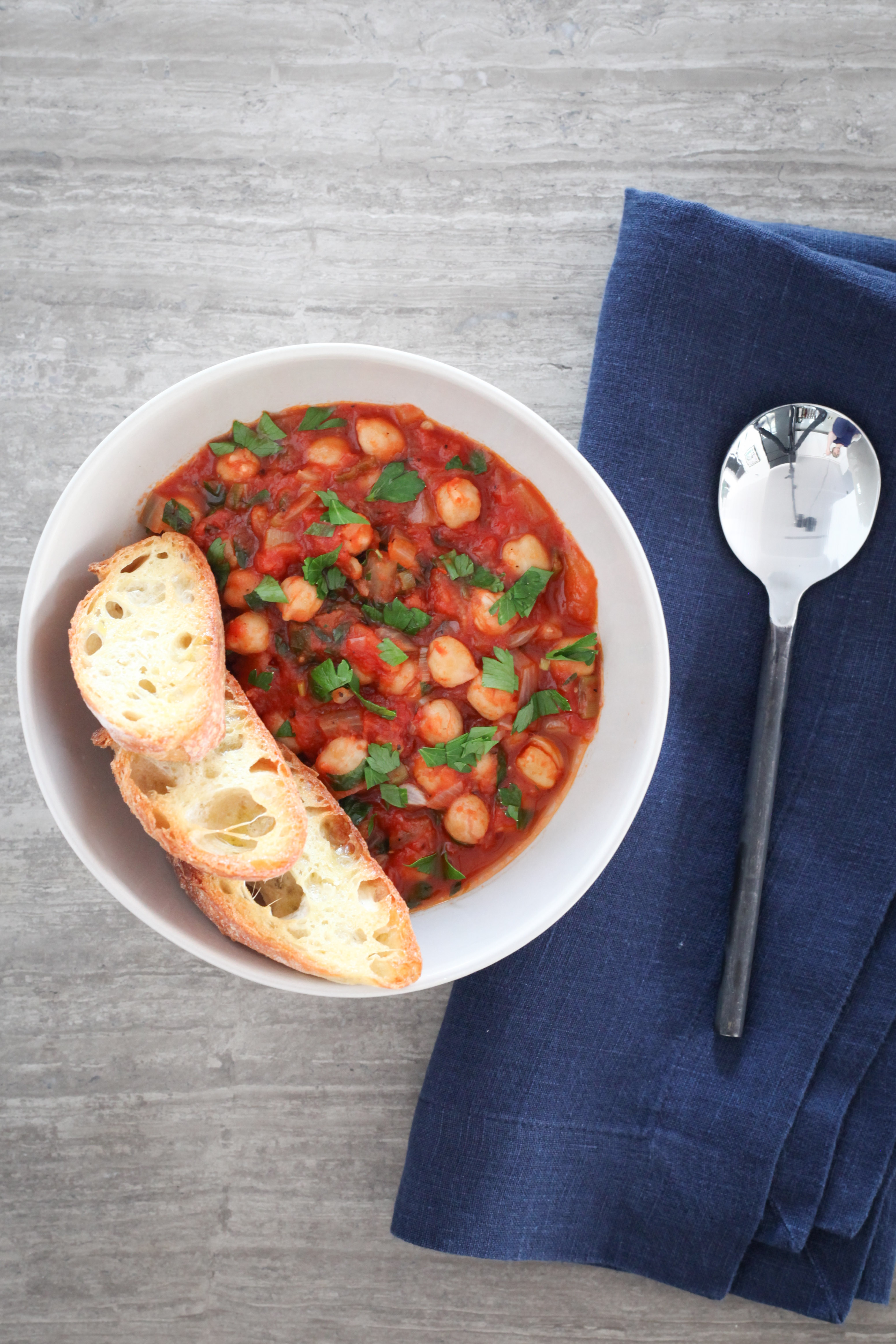 Spicy Chickpea-Tomato Ragout | amodestfeast.com | @amodestfeast