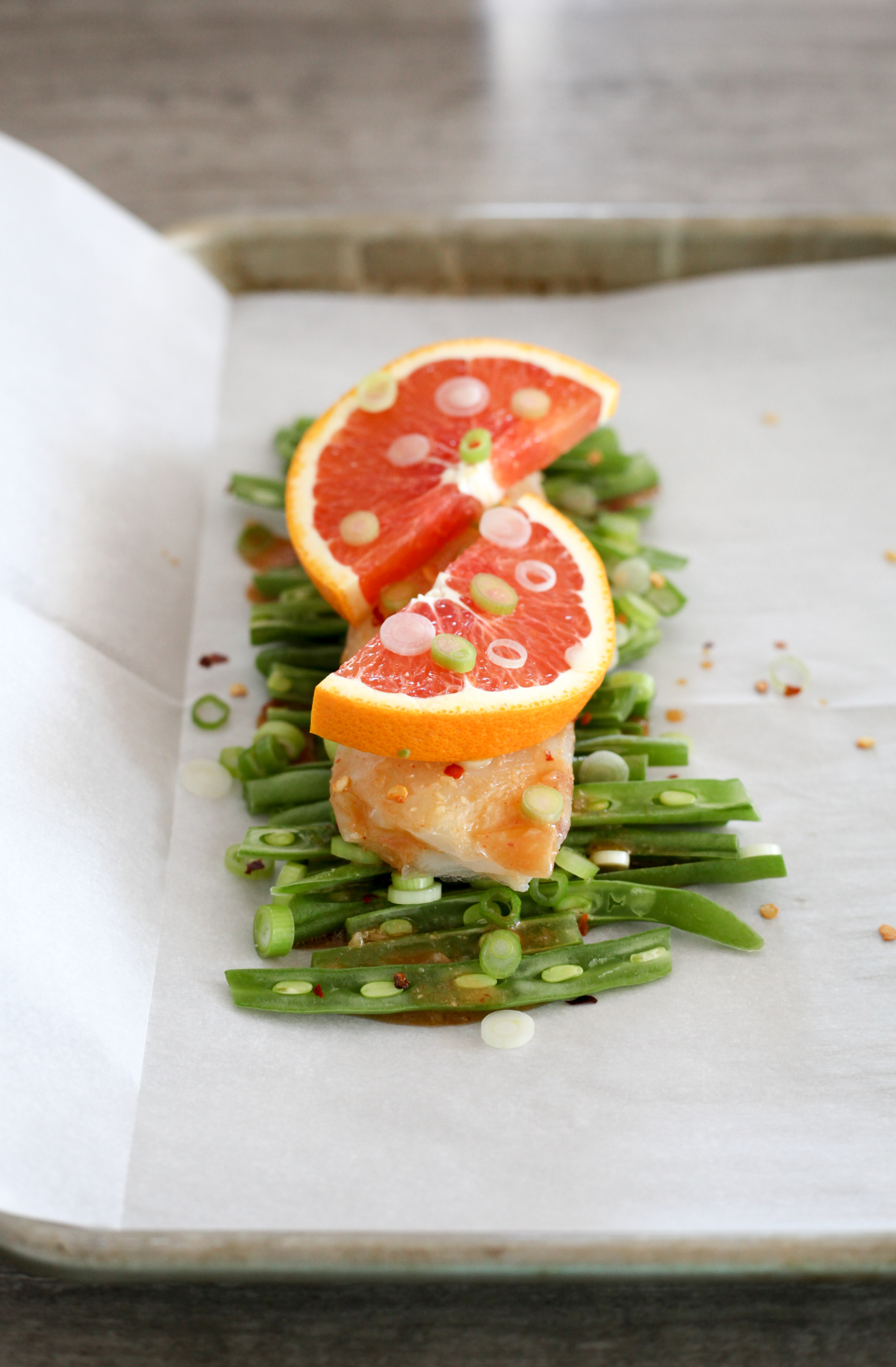 Miso citrus cod with green beans before cooking