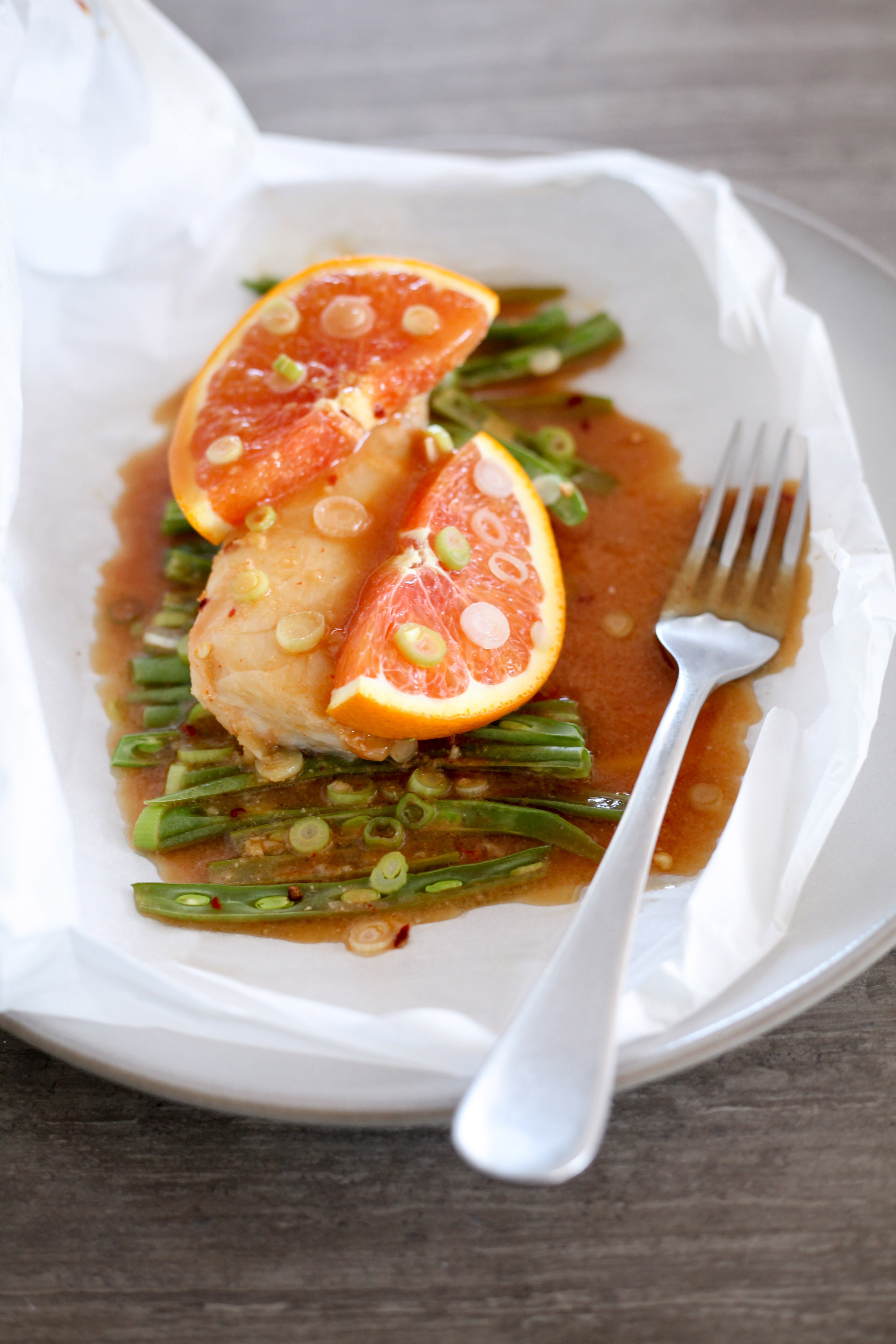 One-Pan Miso-Citrus Cod and Green Beans en Papillote | amodestfeast.com | @amodestfeast