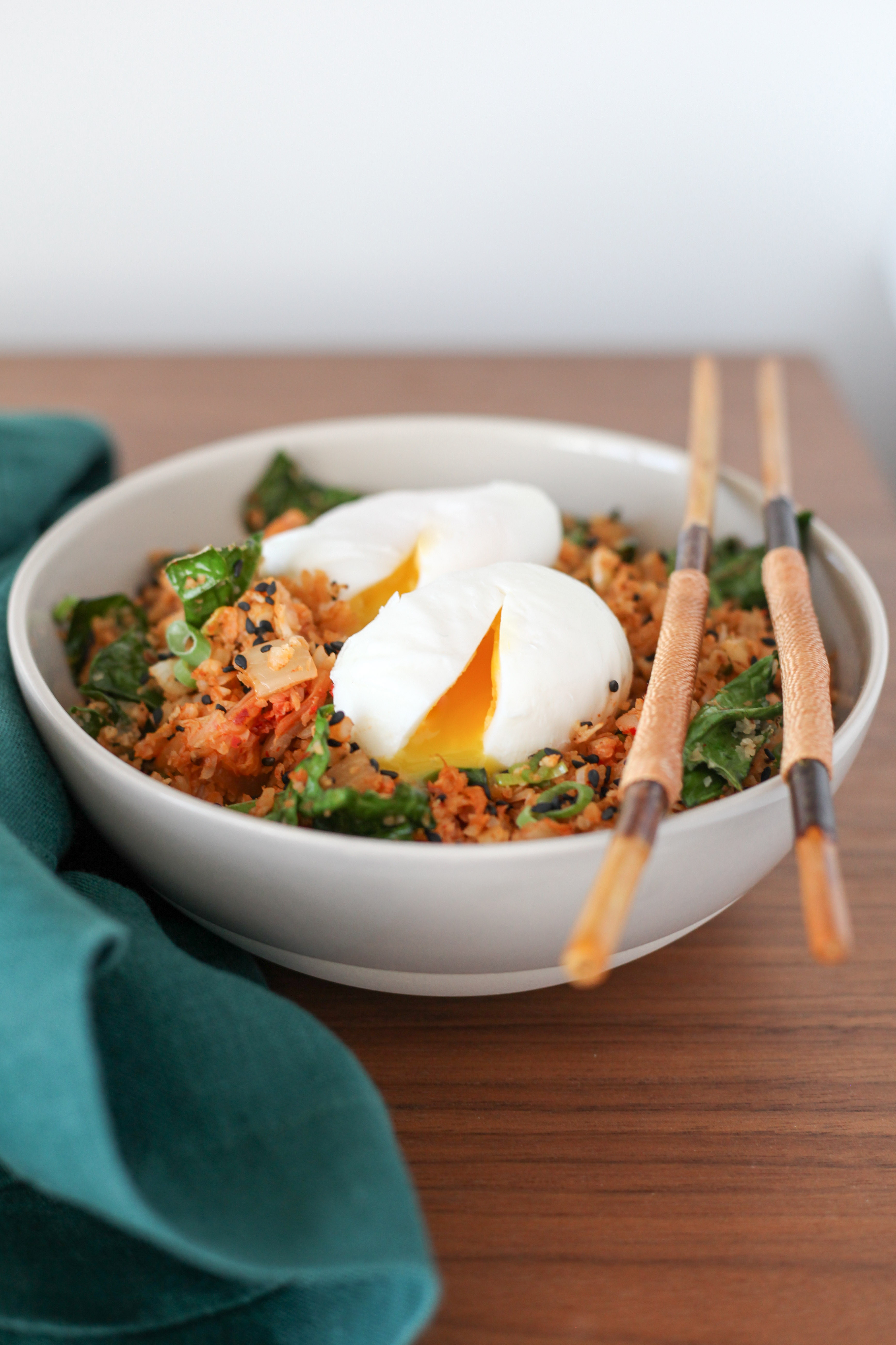 Cauliflower Fried Rice With Kale and Kimchi | amodestfeast.com | @amodestfeast