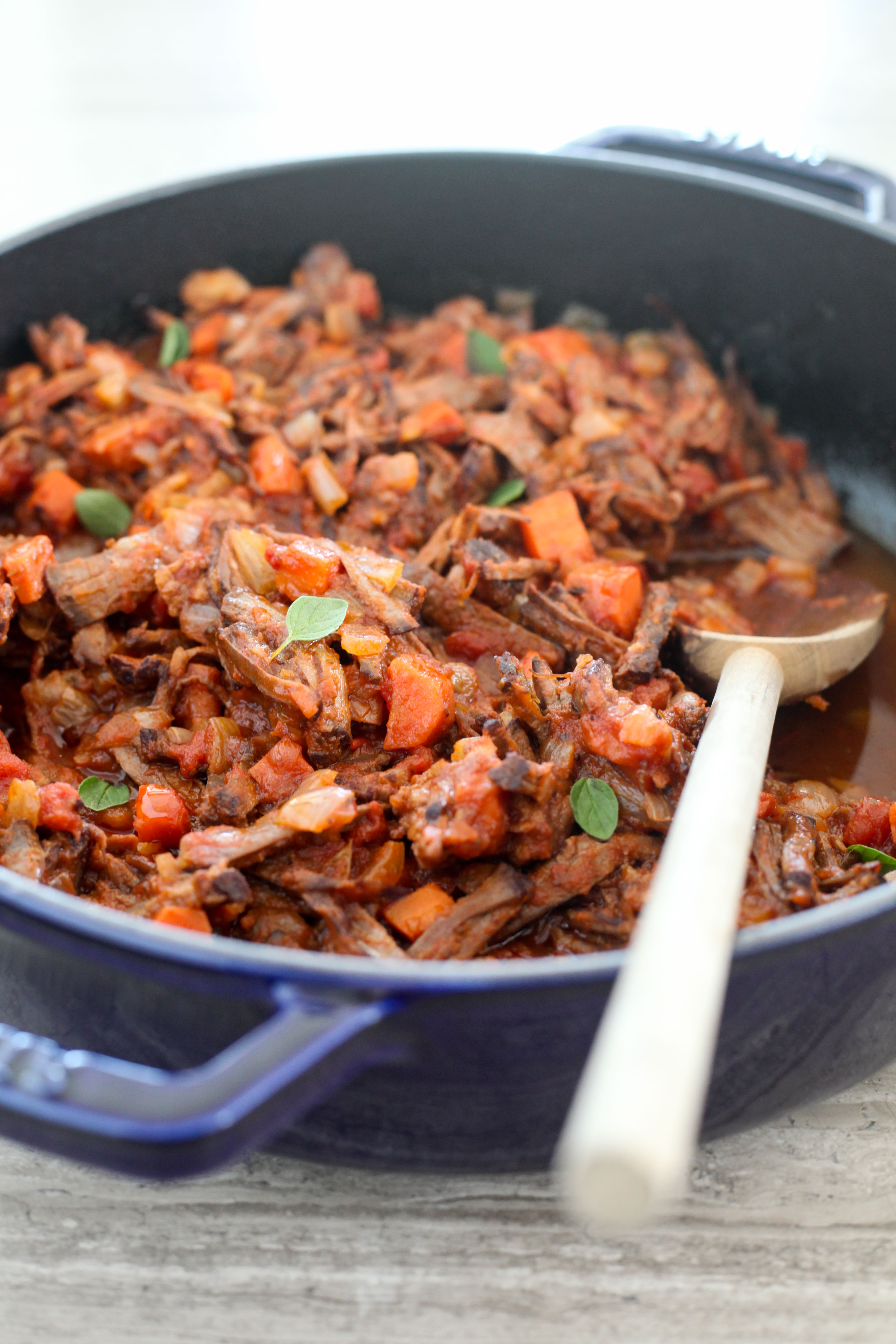 Italian Brisket With Tomatoes, Onions, and Carrots | amodestfeast.com | @amodestfeast