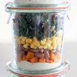 Butternut Squash, Pinto Bean, Corn, and Kale Mason Jar Salad (vegan + gluten-free) | amodestfeast.com | @amodestfeast
