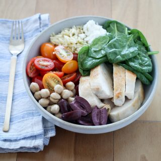 Greek Chicken, Chickpea, and Orzo Bowl | amodestfeast.com | @amodestfeast
