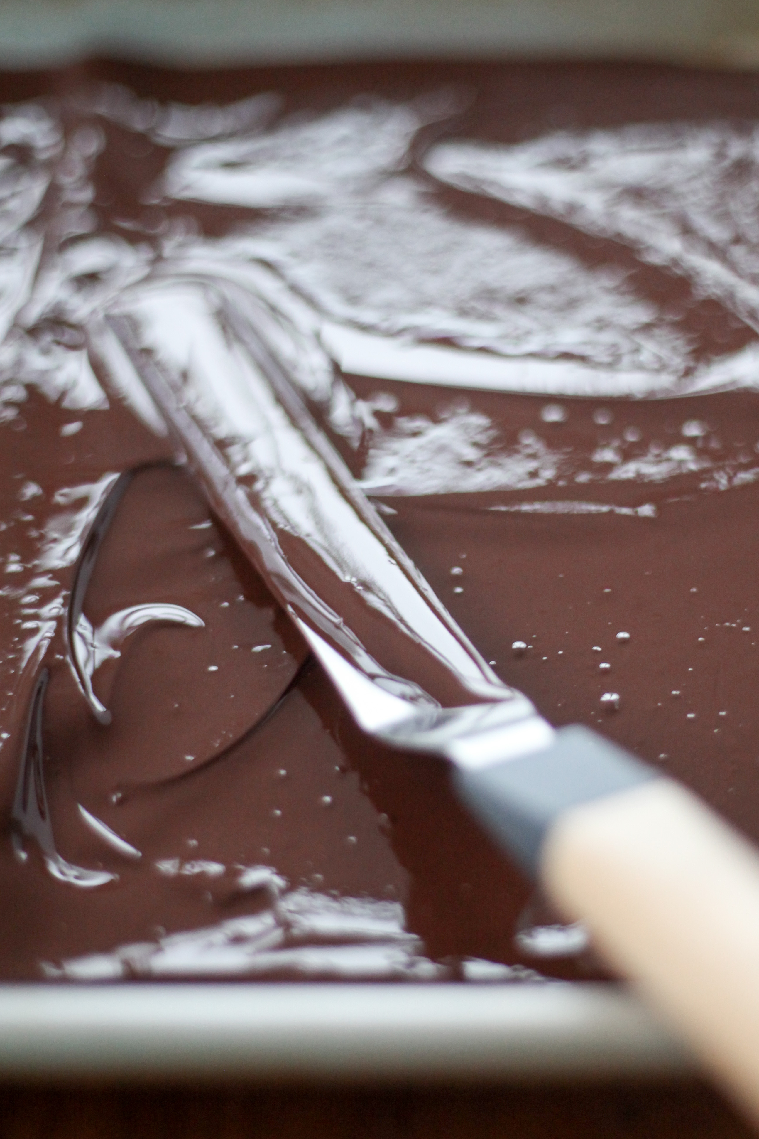 Spreading melted chocolate