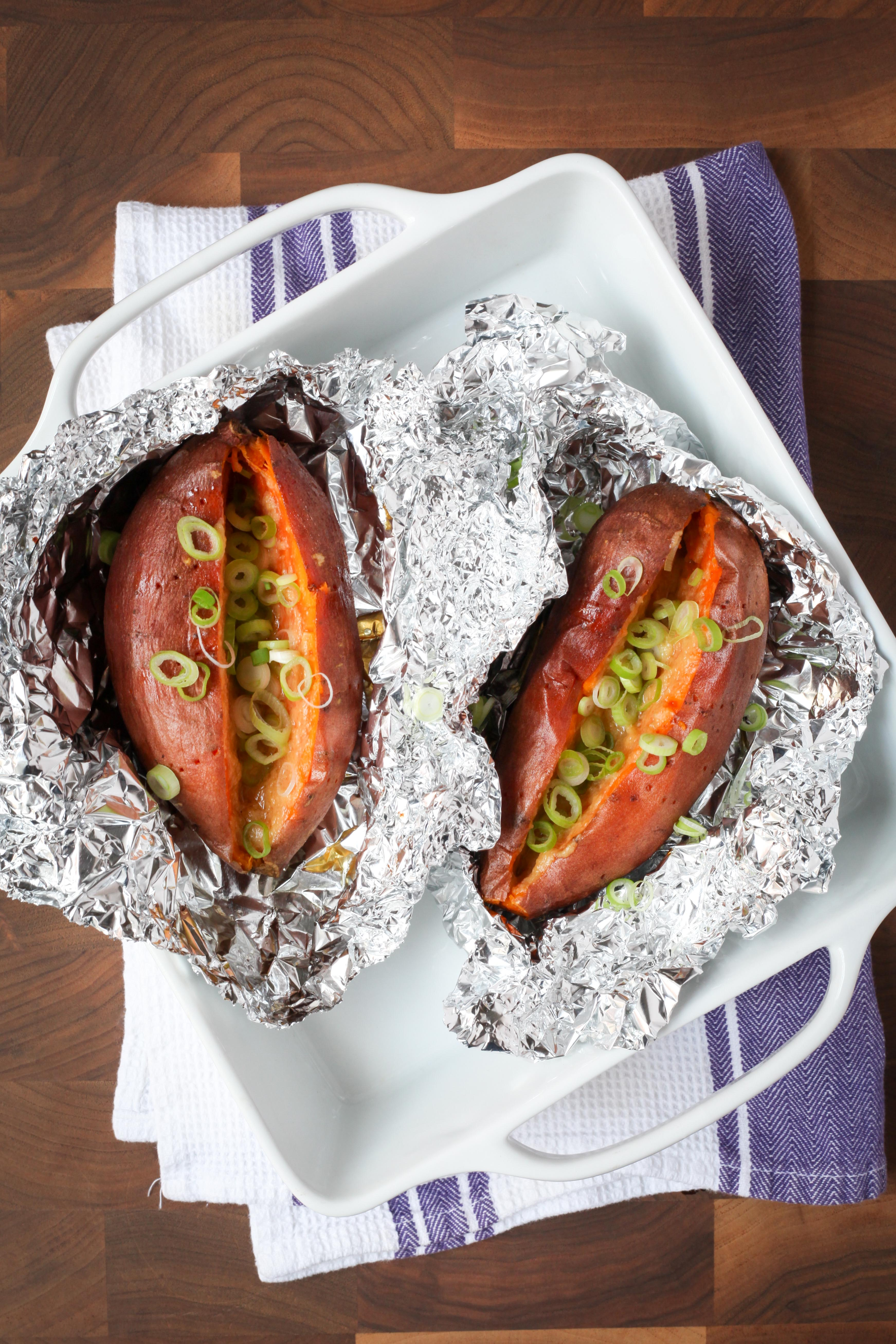Baked Sweet Potatoes With Miso Butter and Scallions | amodestfeast.com | @amodestfeast