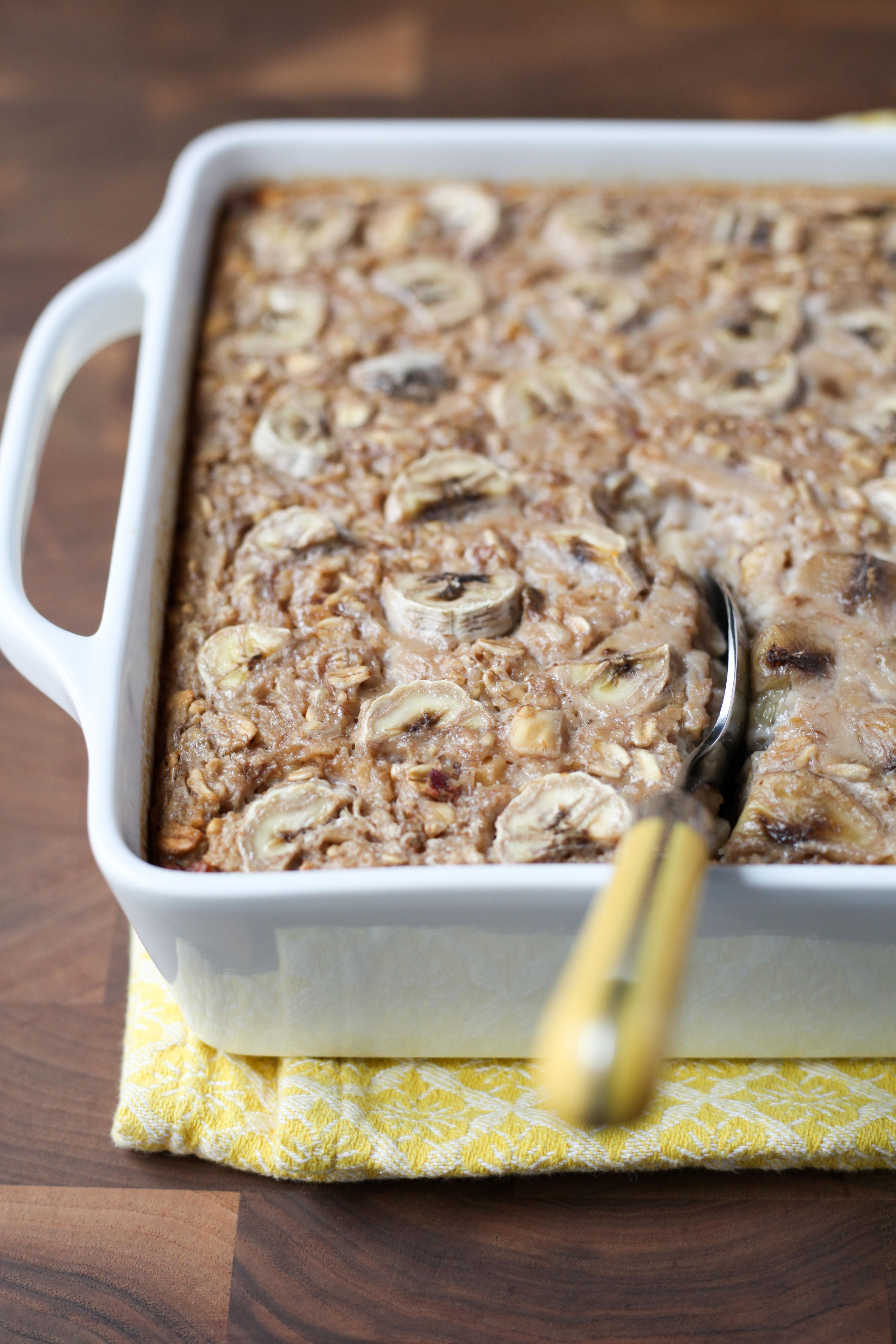 Banana Bread Baked Oatmeal | amodestfeast.com | @amodestfeast