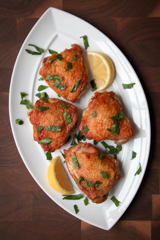 Perfectly-Crisp Roast Chicken Thighs | amodestfeast.com | @amodestfeast