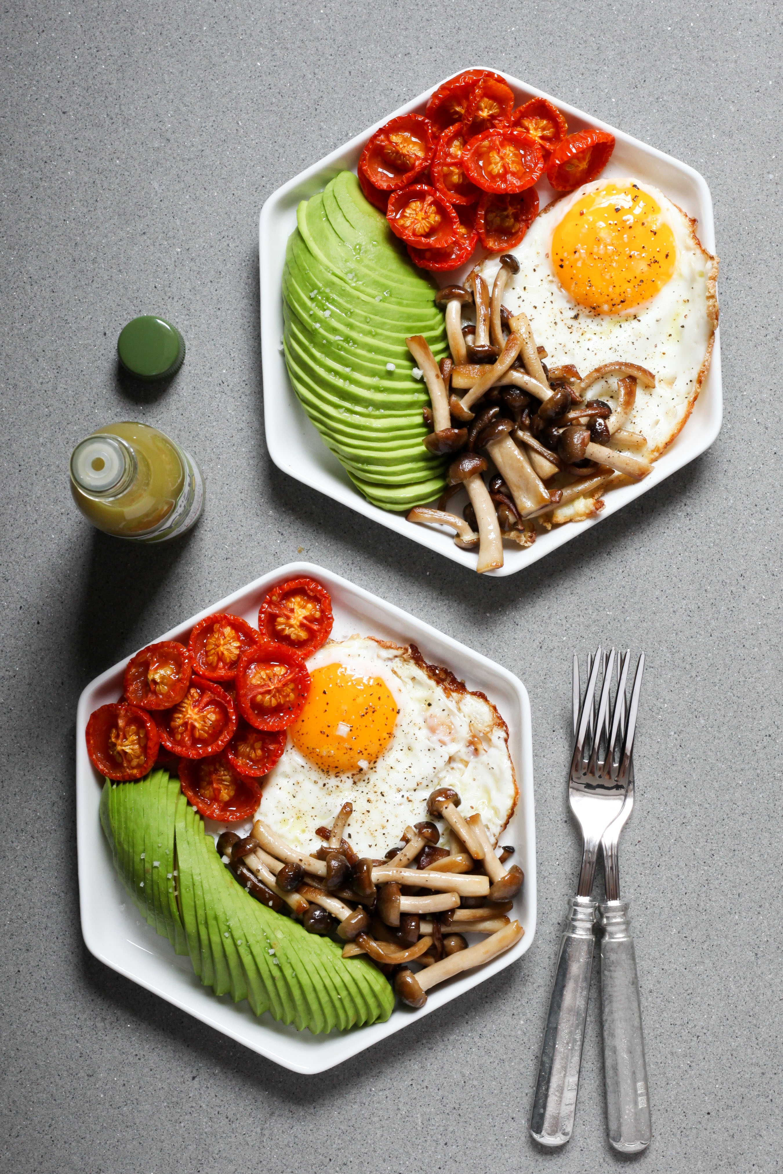 Crisp Fried Eggs With Slow-Roasted Tomatoes, Mushrooms, and Avocado | amodestfeast.com | @amodestfeast