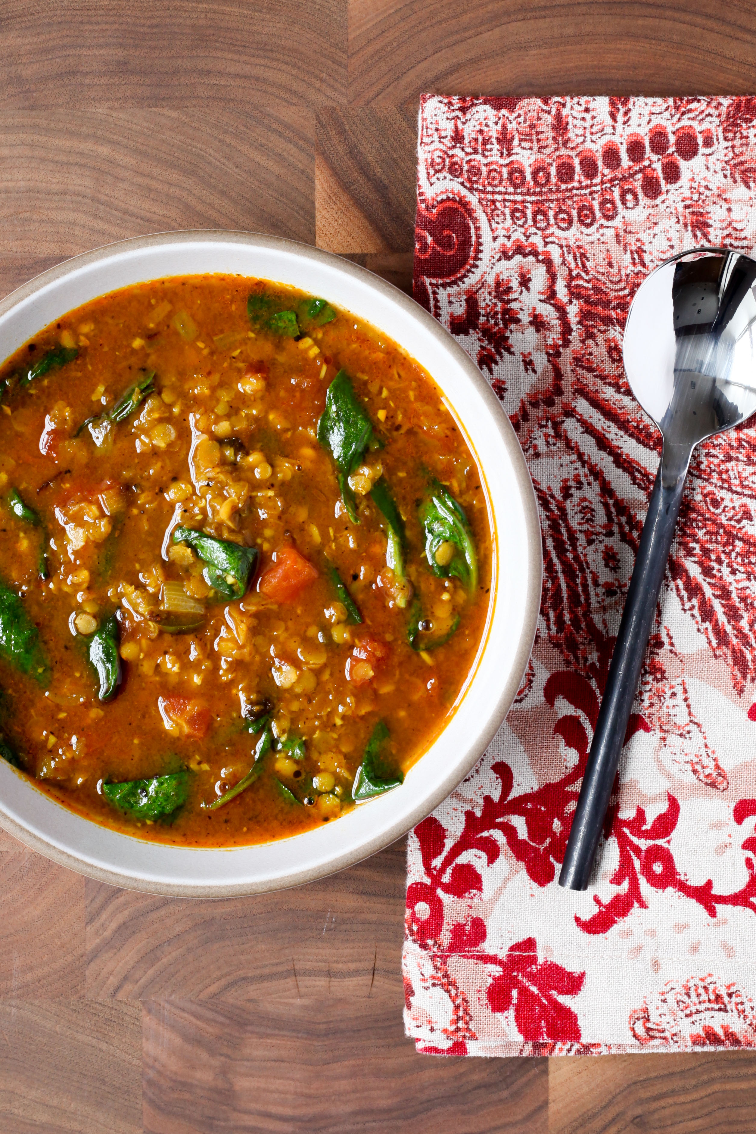 Indian-Spiced Red Lentil Soup With Spinach | amodestfeast.com | @amodestfeast