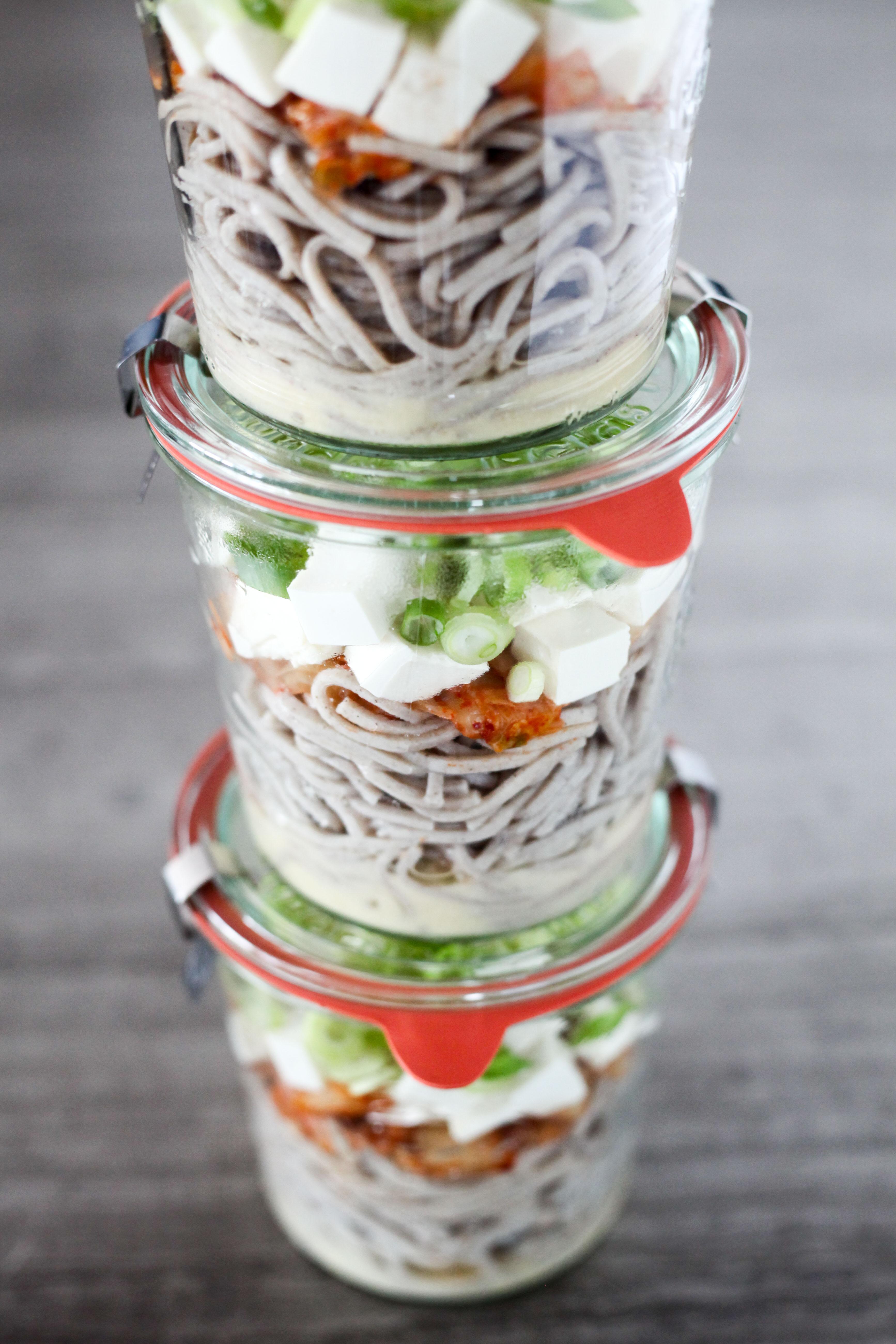 Miso-Kimchi Soba Noodle Soup Mason Jars | amodestfeast.com | @amodestfeast