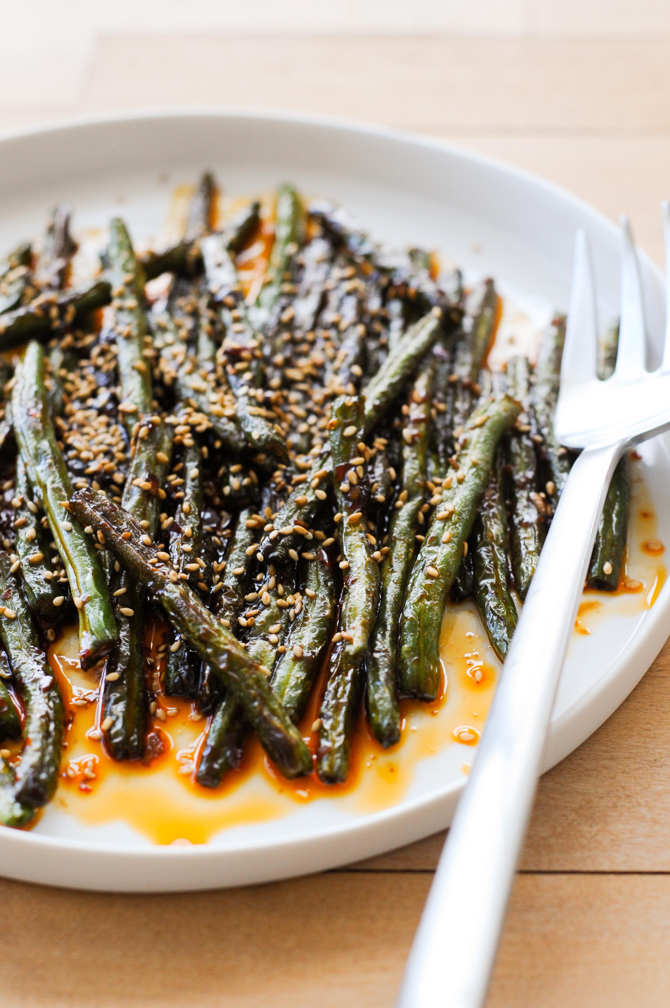 Szechuan-Style Spicy Green Beans | amodestfeast.com | @amodestfeast