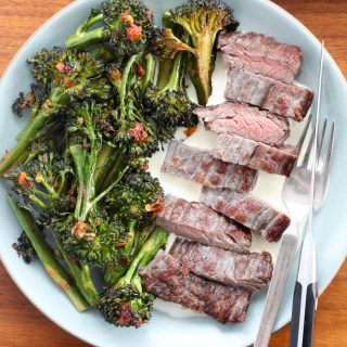 Skirt Steak With Spicy Broccolini and Lemon Mayo | amodestfeast.com | @amodestfeast