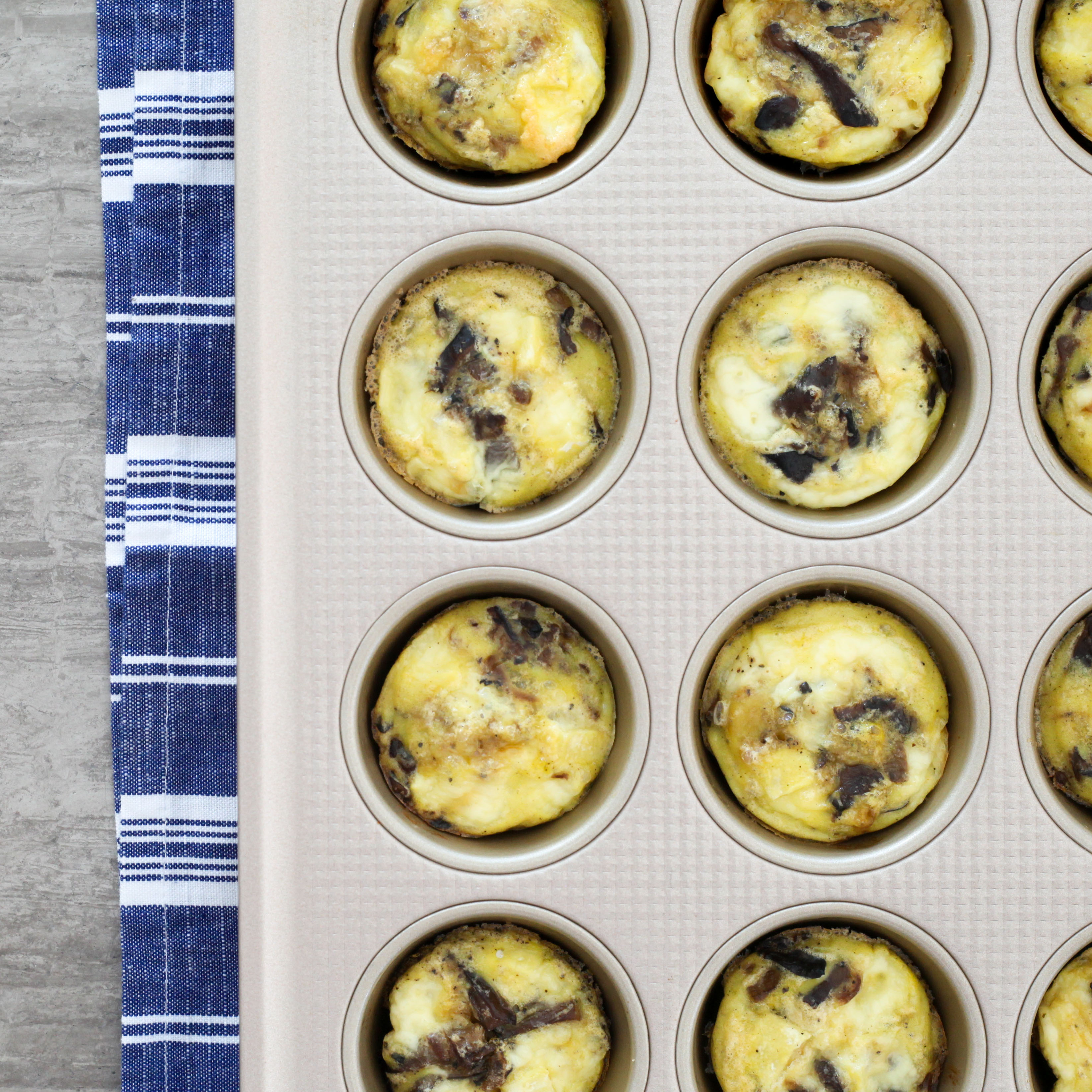 Brie, Mushroom, and Caramelized Onion Egg Muffins | amodestfeast.com | @amodestfeast