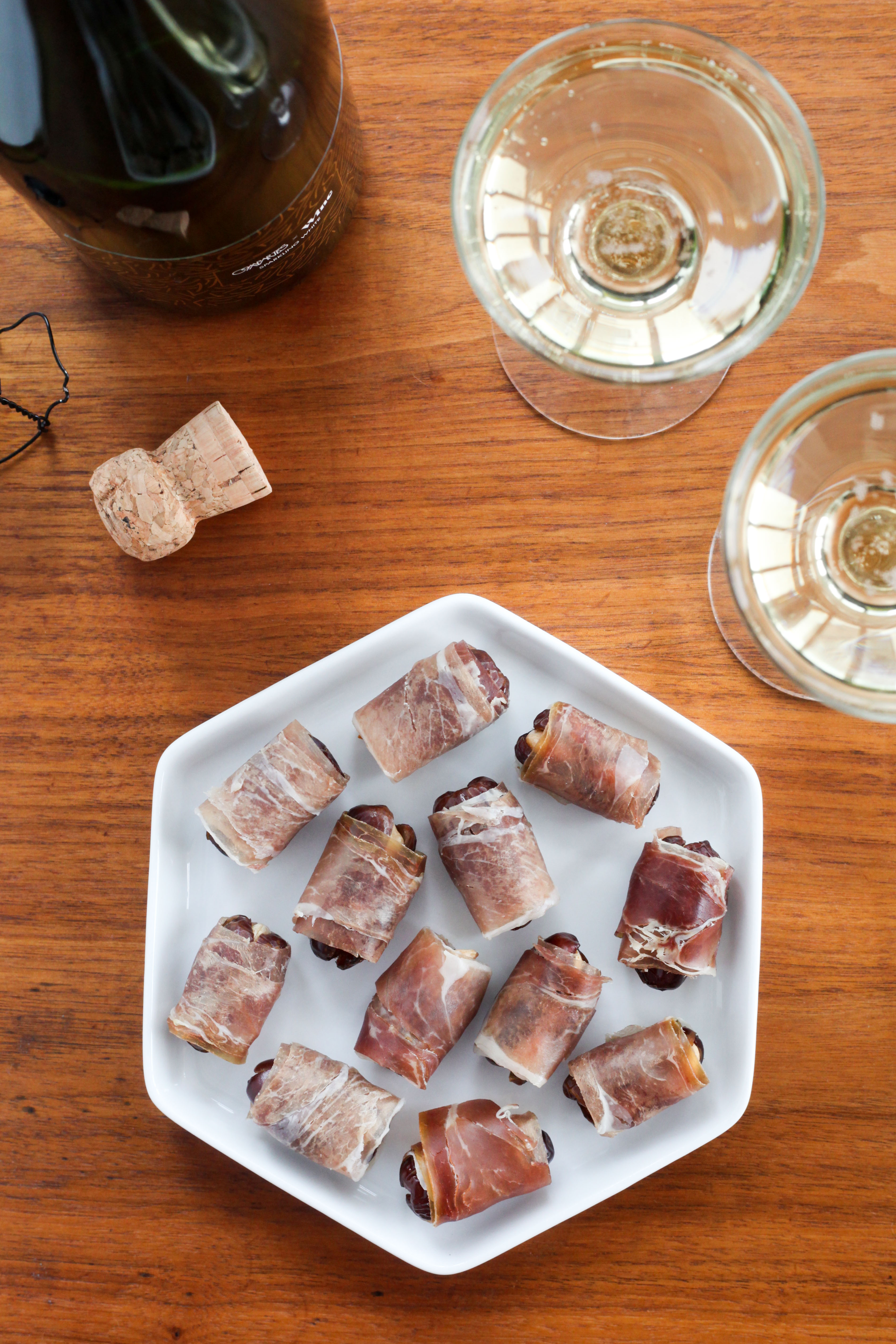 Prosciutto-Wrapped Almond-Stuffed Dates | amodestfeast.com | @amodestfeast