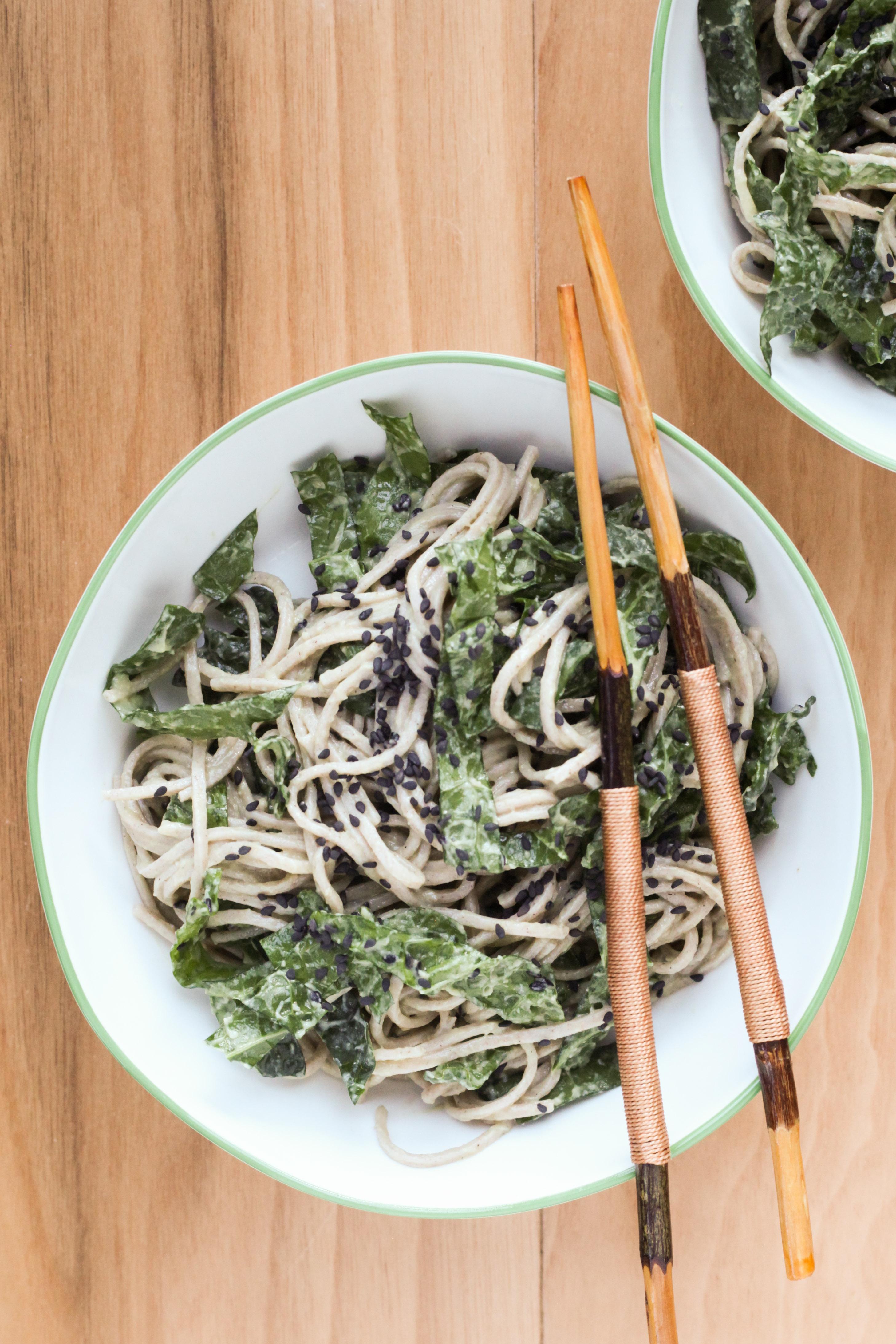 Miso-Avocado Soba Noodles With Kale | amodestfeast.com | @amodestfeast