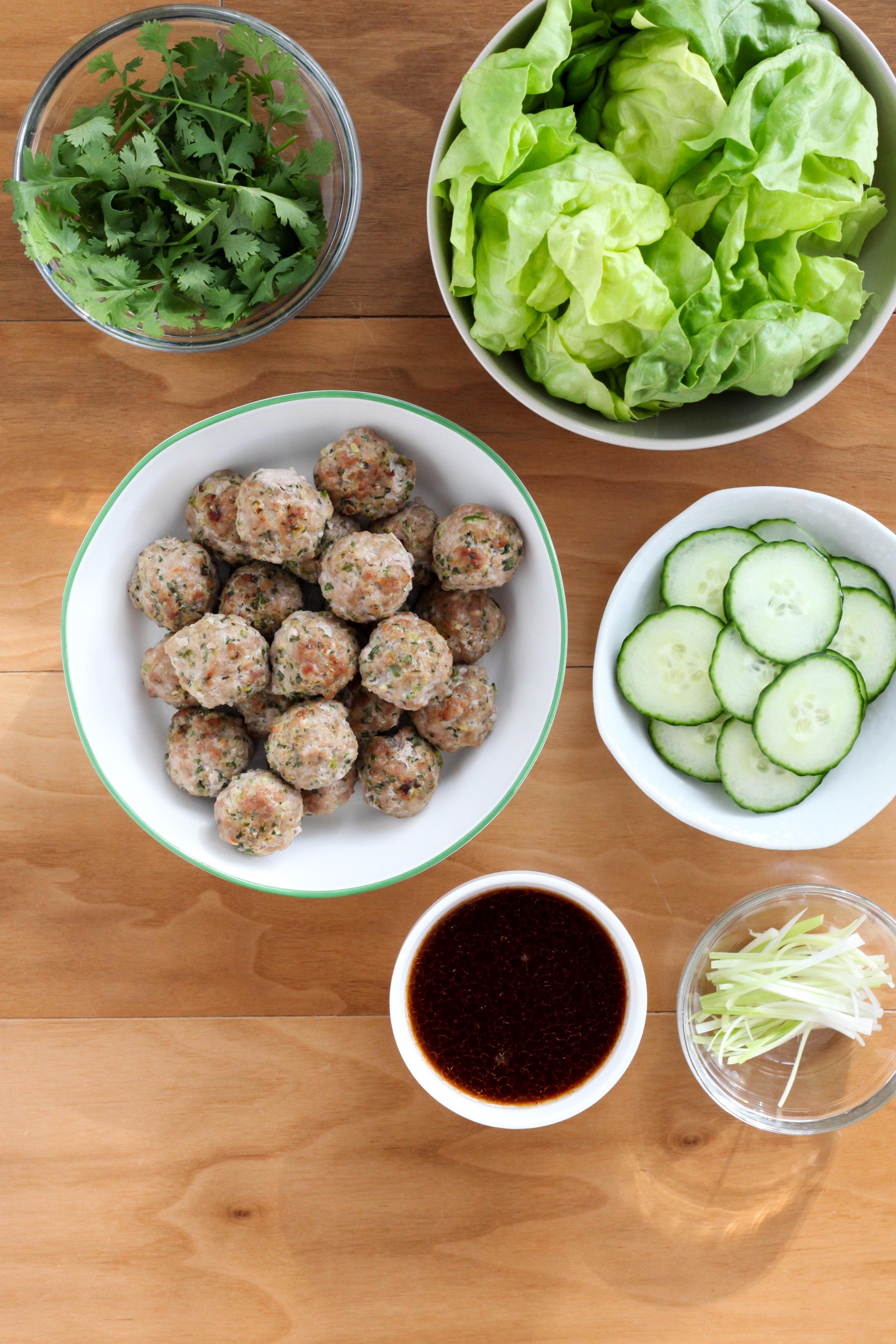 Ginger Pork Meatball Lettuce Wraps With Cilantro (gluten-free) | amodestfeast.com | @amodestfeast
