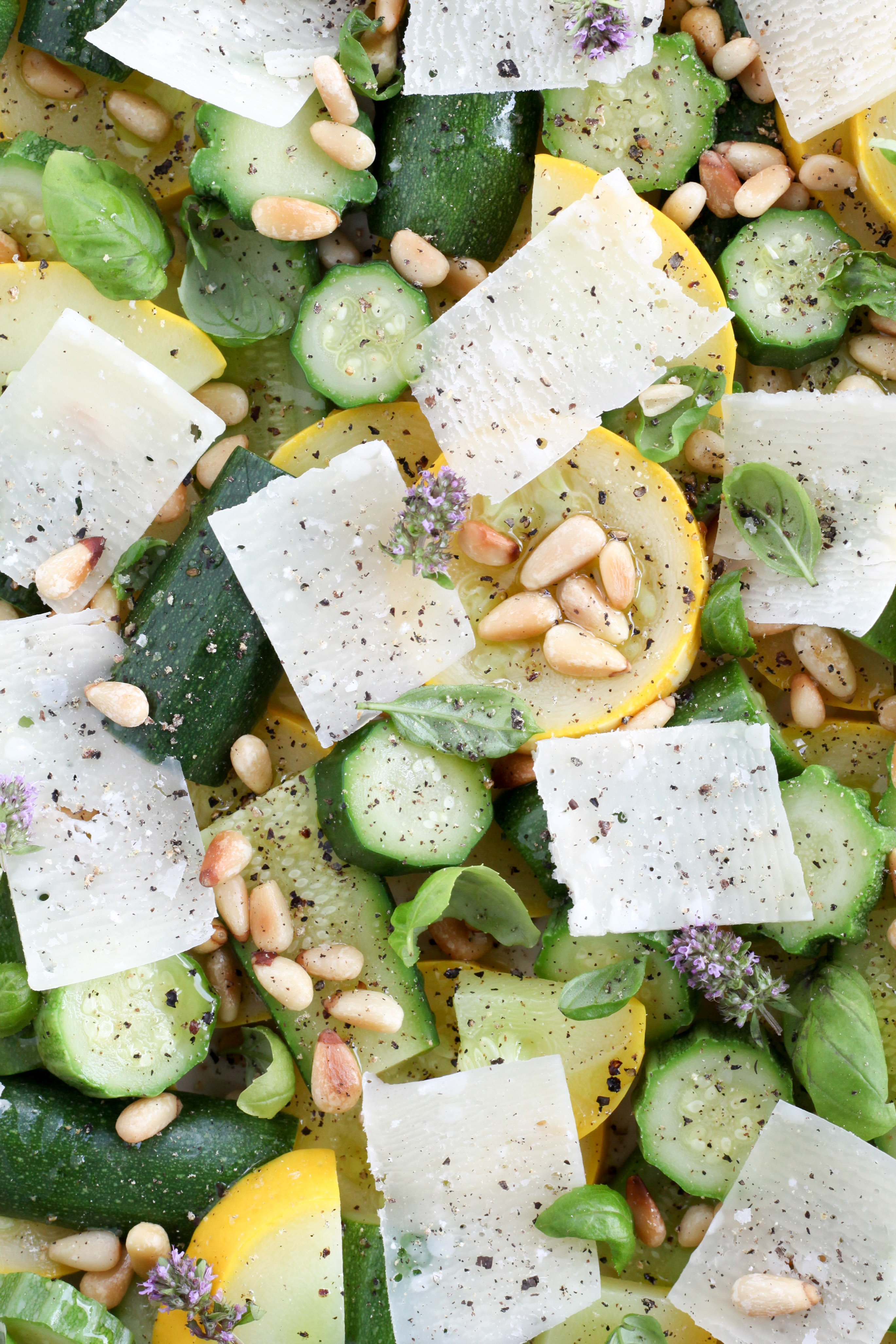 Summer Squash With Pine Nuts, Parmesan, and Basil (vegetarian, gluten-free, low-carb) | A Modest Feast | @amodestfeast