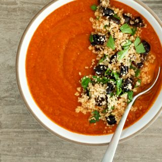 North African Sundried Tomato Soup With Couscous and Olives (vegan) | A Modest Feast | @amodestfeast