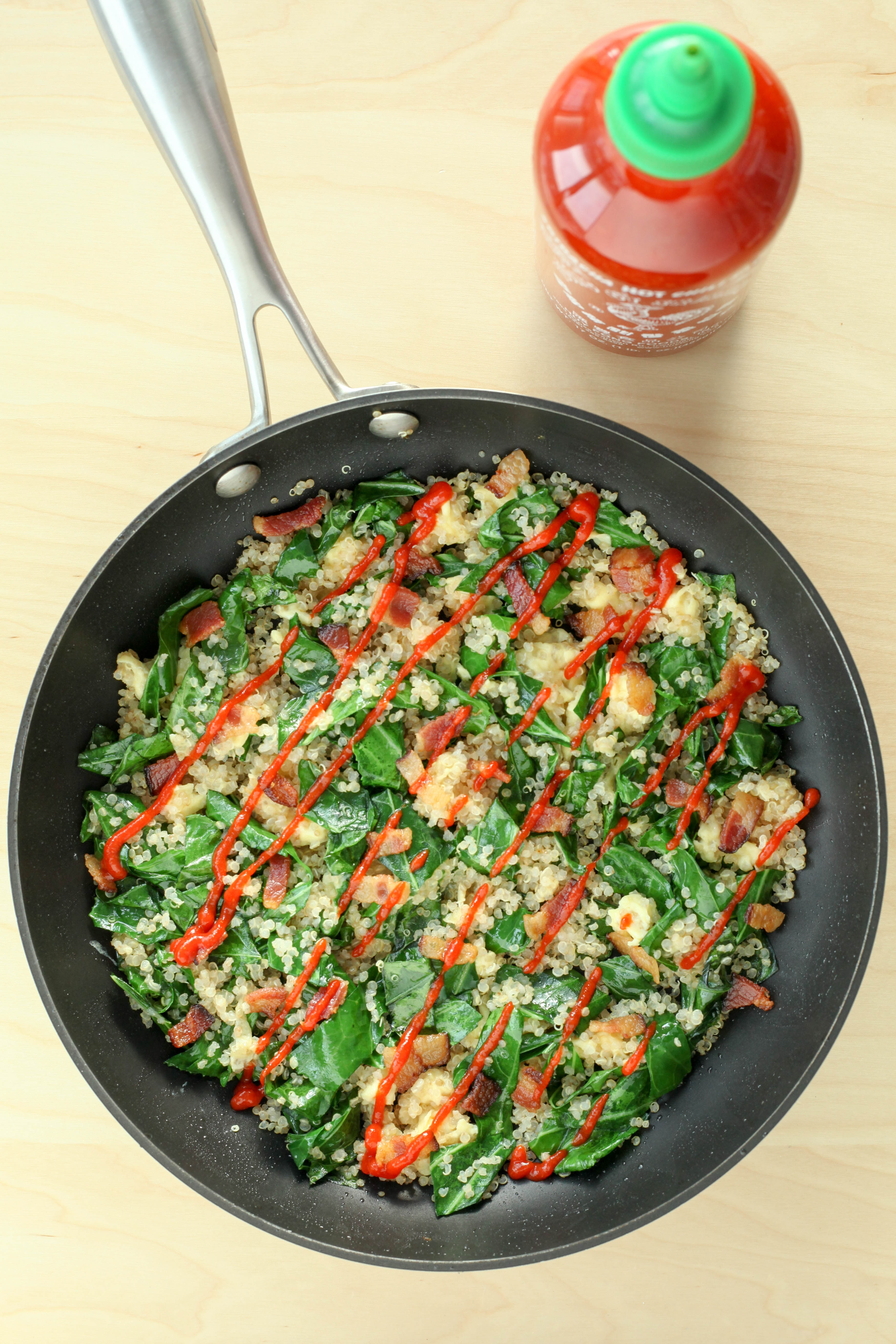 Breakfast Fried Quinoa With Collards, Bacon, and Sriracha (gluten-free) | A Modest Feast | @amodestfeast