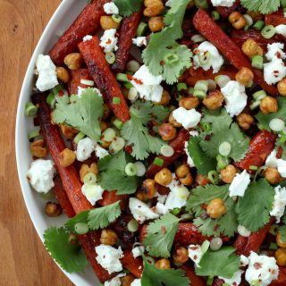 Pomegranate-Molasses-Glazed Carrots With Crispy Chickpeas and Feta (gluten-free) | A Modest Feast | @amodestfeast