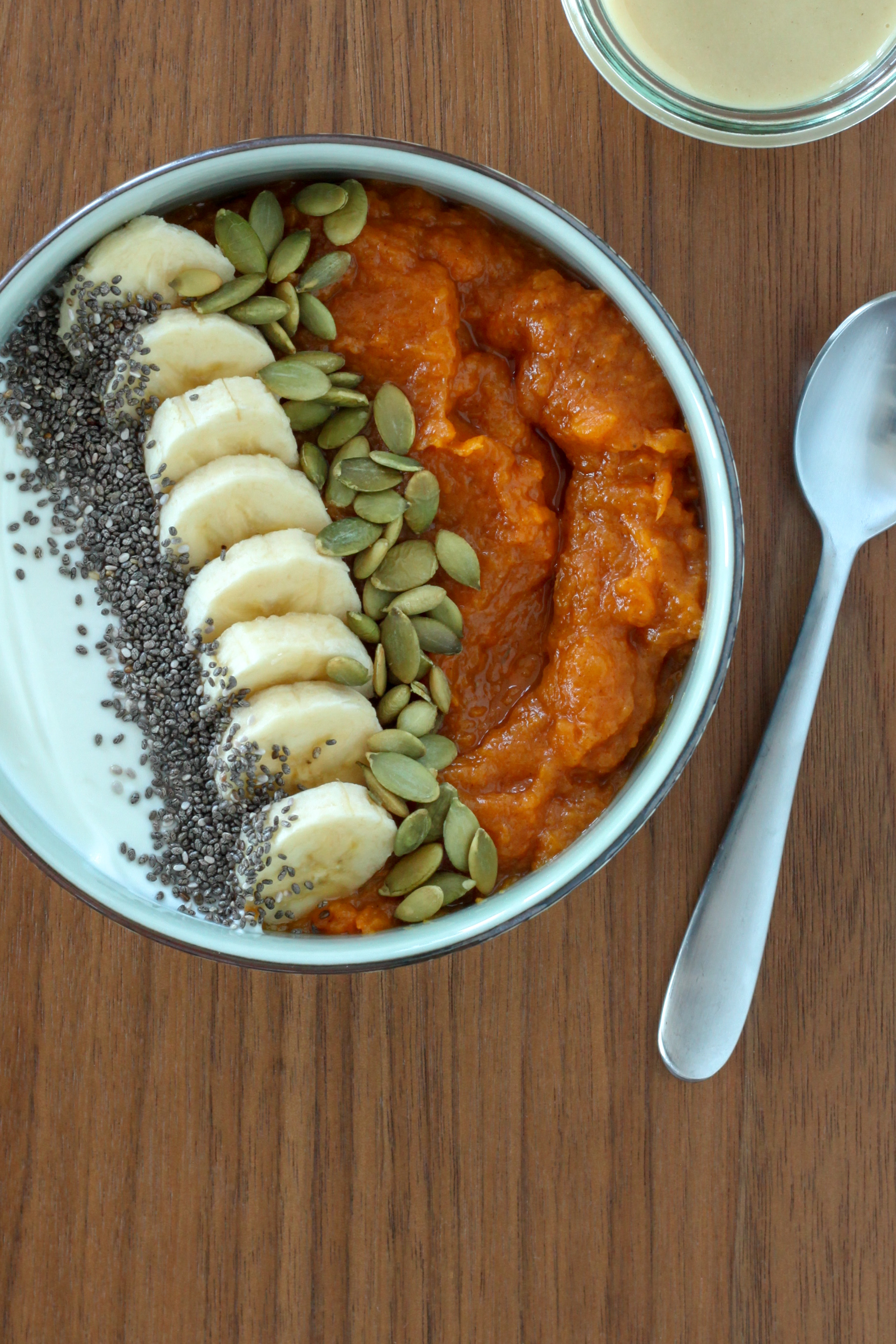 Sweet Potato Breakfast Bowl With Maple-Tahini Sauce (gluten-free, Whole30/paleo options) | amodestfeast.com | @amodestfeast #sweetpotatoes #healthybreakfast #whole30breakfast #paleobreakfast
